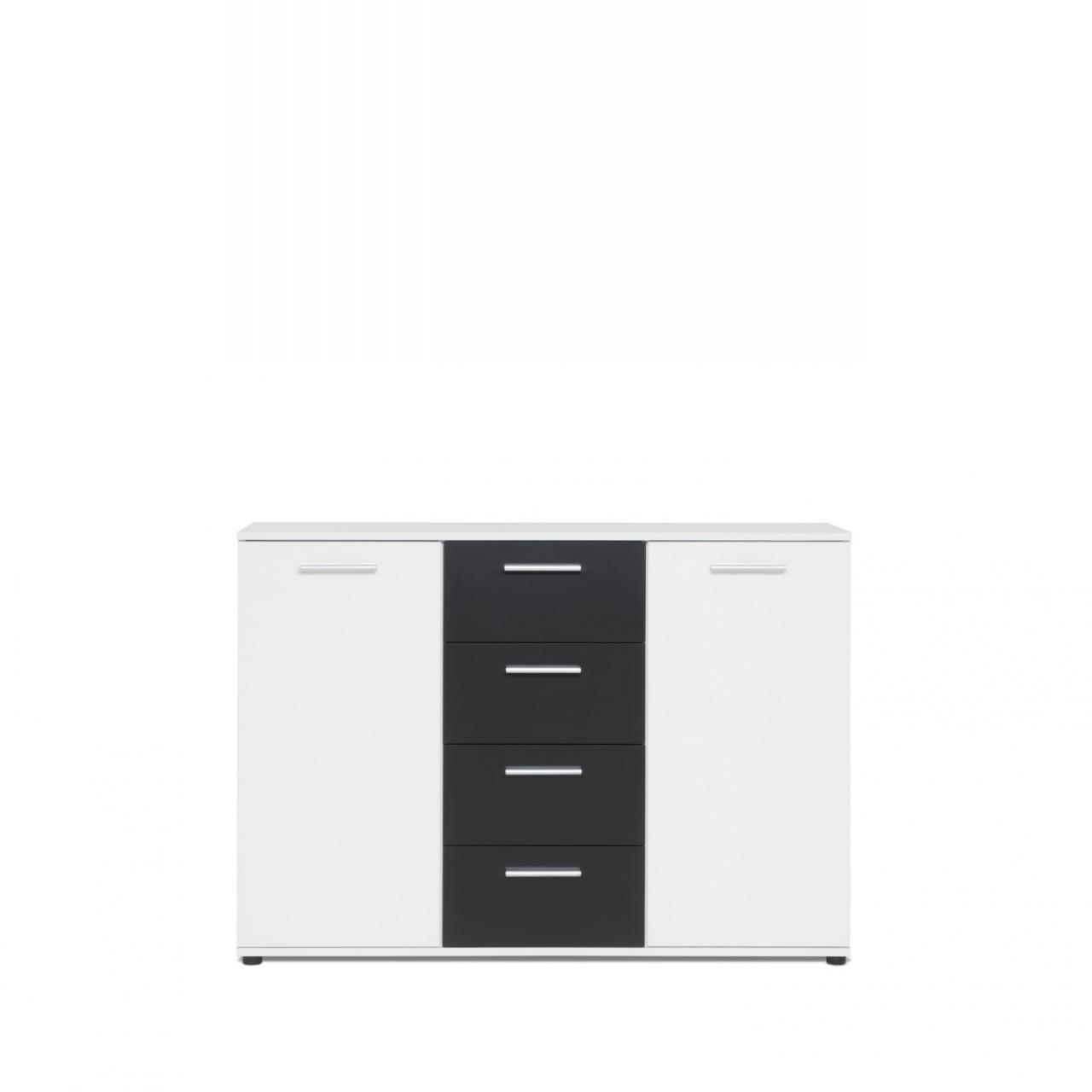 Kommode schwarz weiß  Kommode Jacky 2 | weiss - schwarz | 2 Türen | 4 Schubkästen | Möbel ...