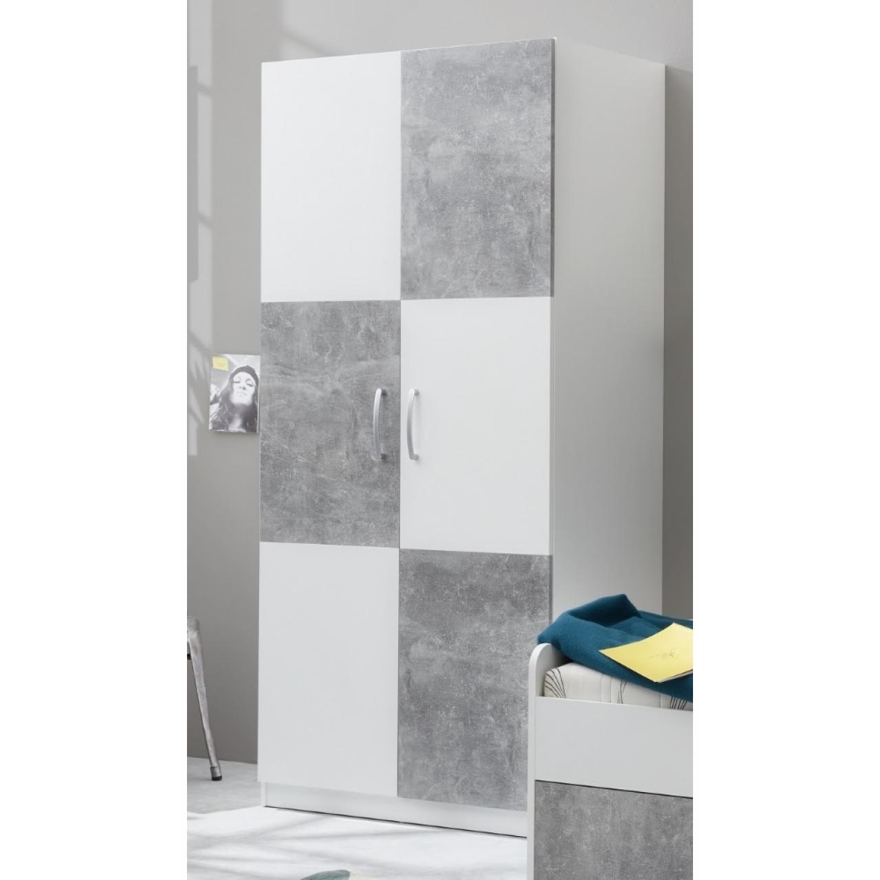 Kleiderschrank Canaria - Weiß/Beton