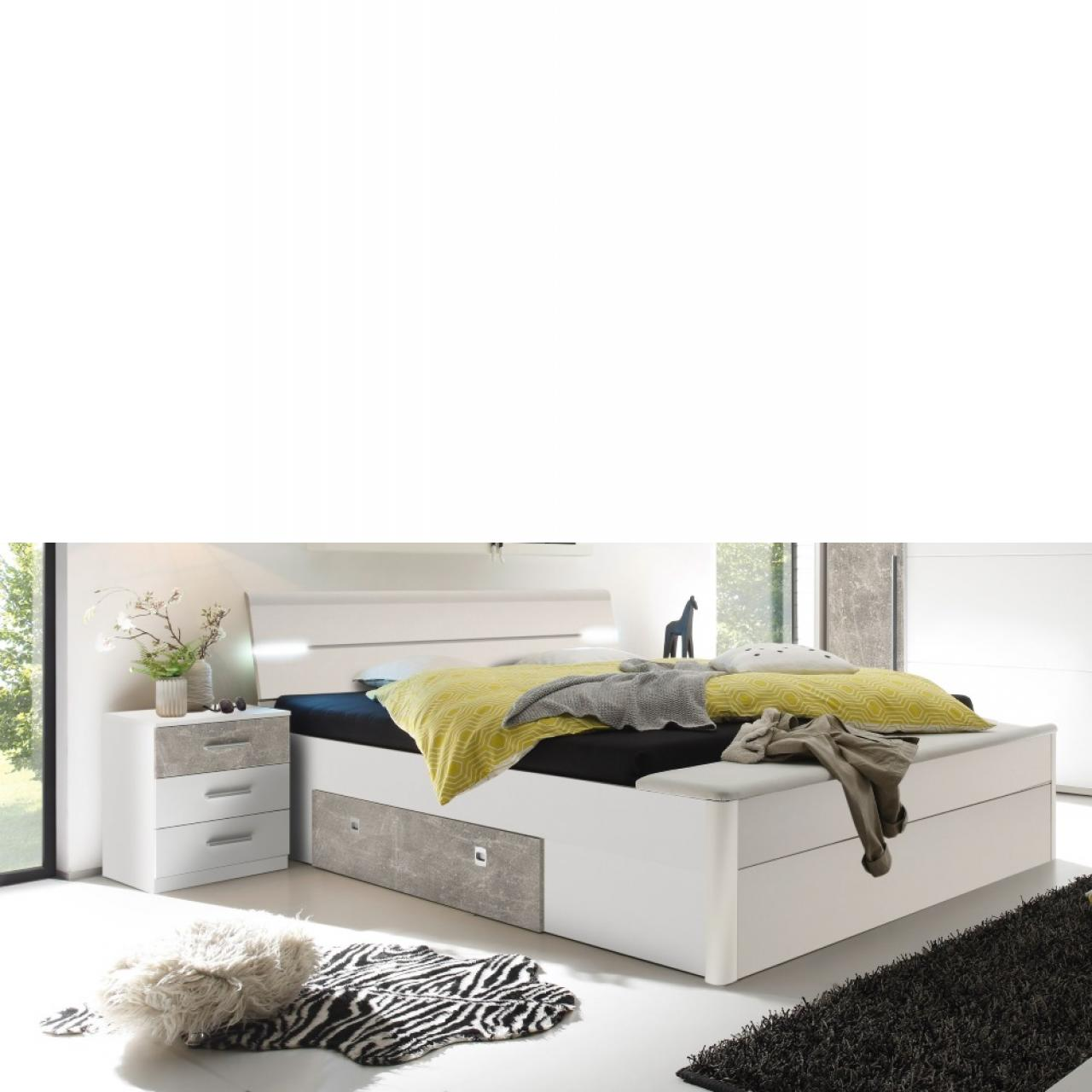 Bettanlage - Mars XL weiß/beton