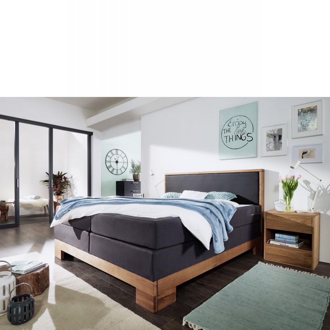 Bett dunkelgrau - 180x210 cm - Wildeiche massiv