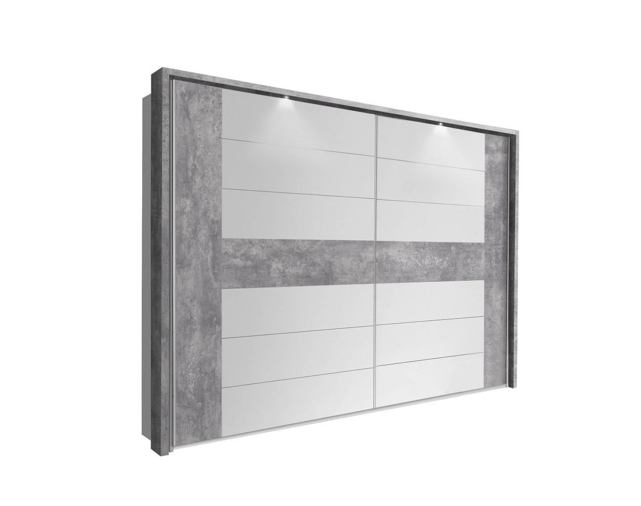 Kleiderschrank rondino schwebet renschrank lichtgrau betonoptik wei hochglanz ebay - Kleiderschrank betonoptik ...