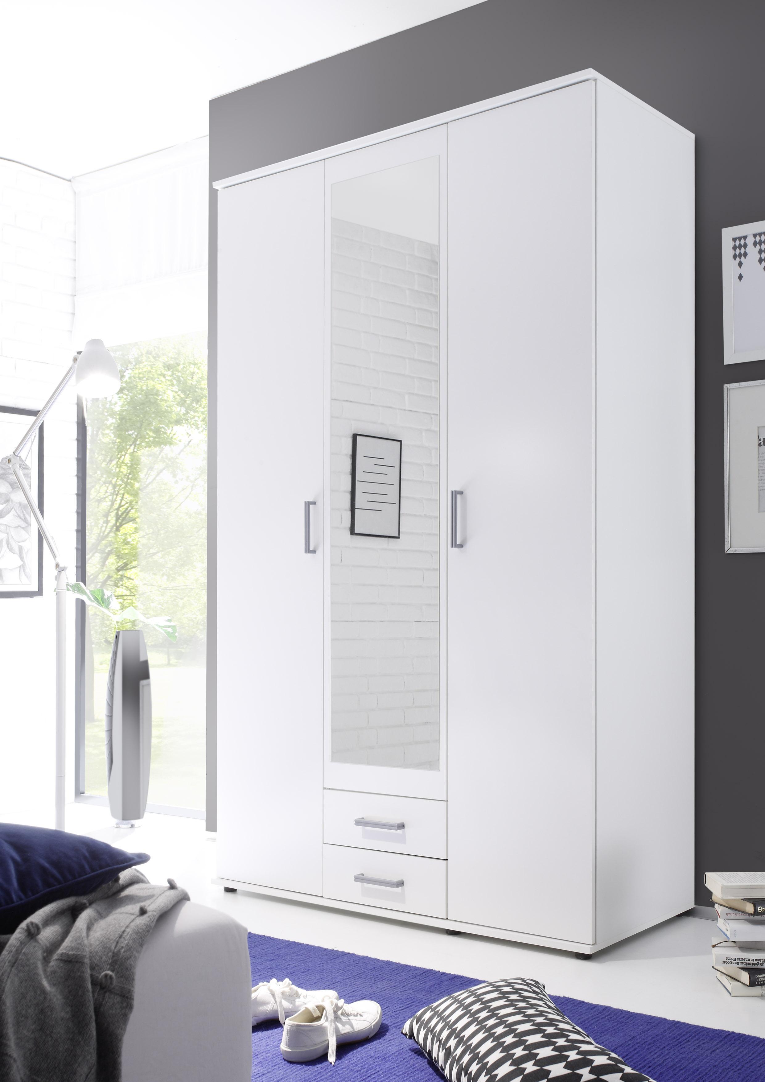 Details zu Kleiderschrank Karl, Weiß, mit Spiegel, Drehtürenschrank,  Schrank, Schlafzimmer