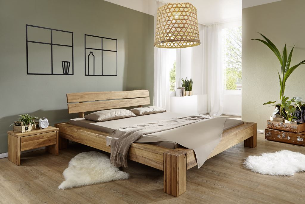 Bett Wildeiche geölt, ohne Lattenrost, verschiedene Größen, mit ...