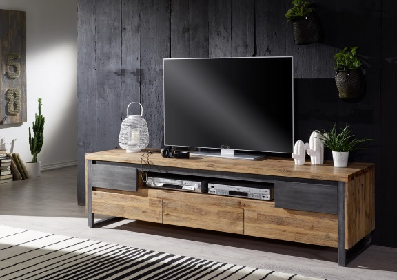 Tv Board Lowboard Holz Akazie Geburstet Metall Tv Tisch Tv
