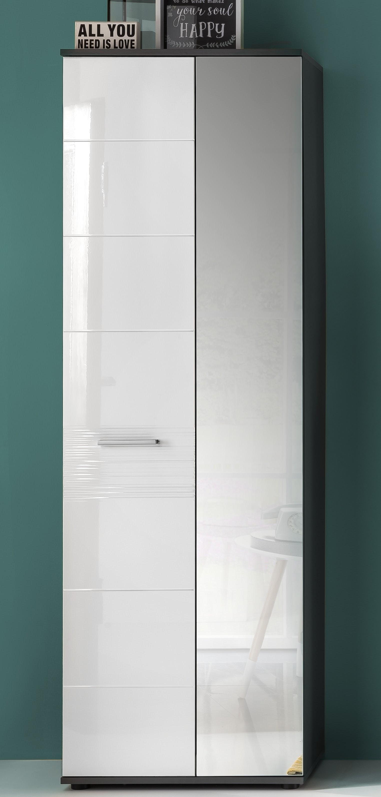 garderobenschrank smart schrank flur diele wei hochglanz grau melamin garderobe ebay. Black Bedroom Furniture Sets. Home Design Ideas