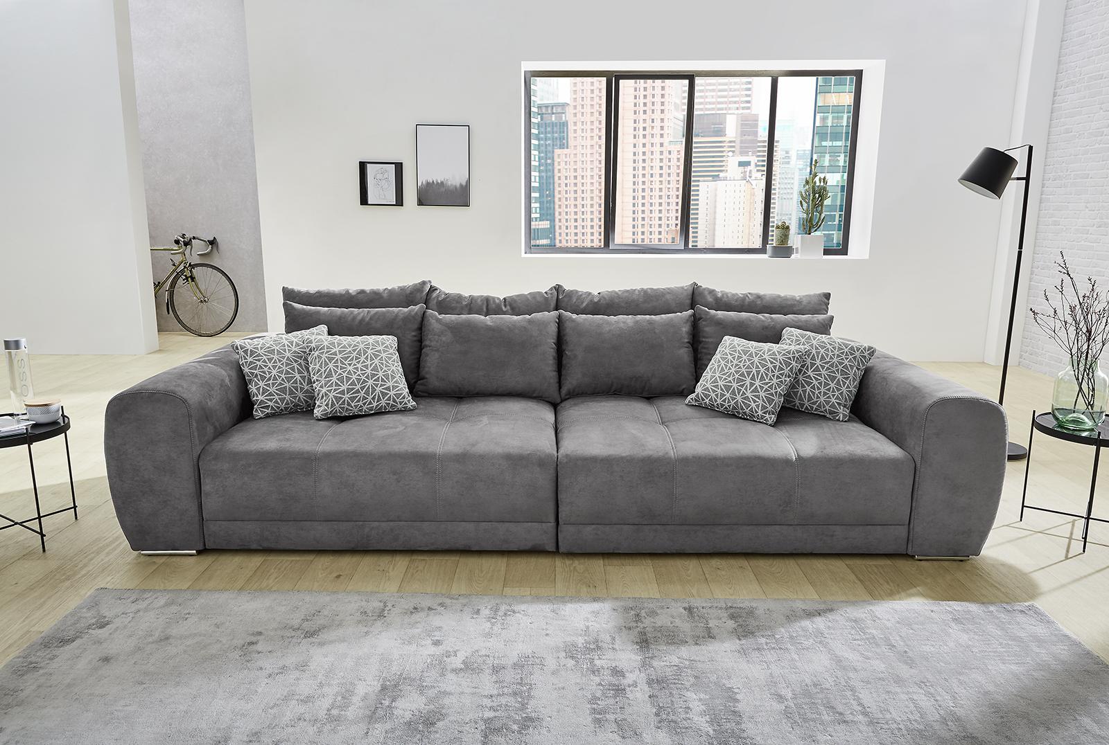Big Sofa Sam Stoff Grau Mega Sofa Lounge Riesensofa XXL