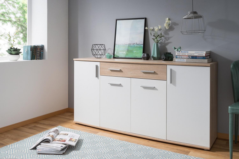 kommode rondo 2 wei sonoma eiche dekor sideboard 4 t ren 1 schublade ebay