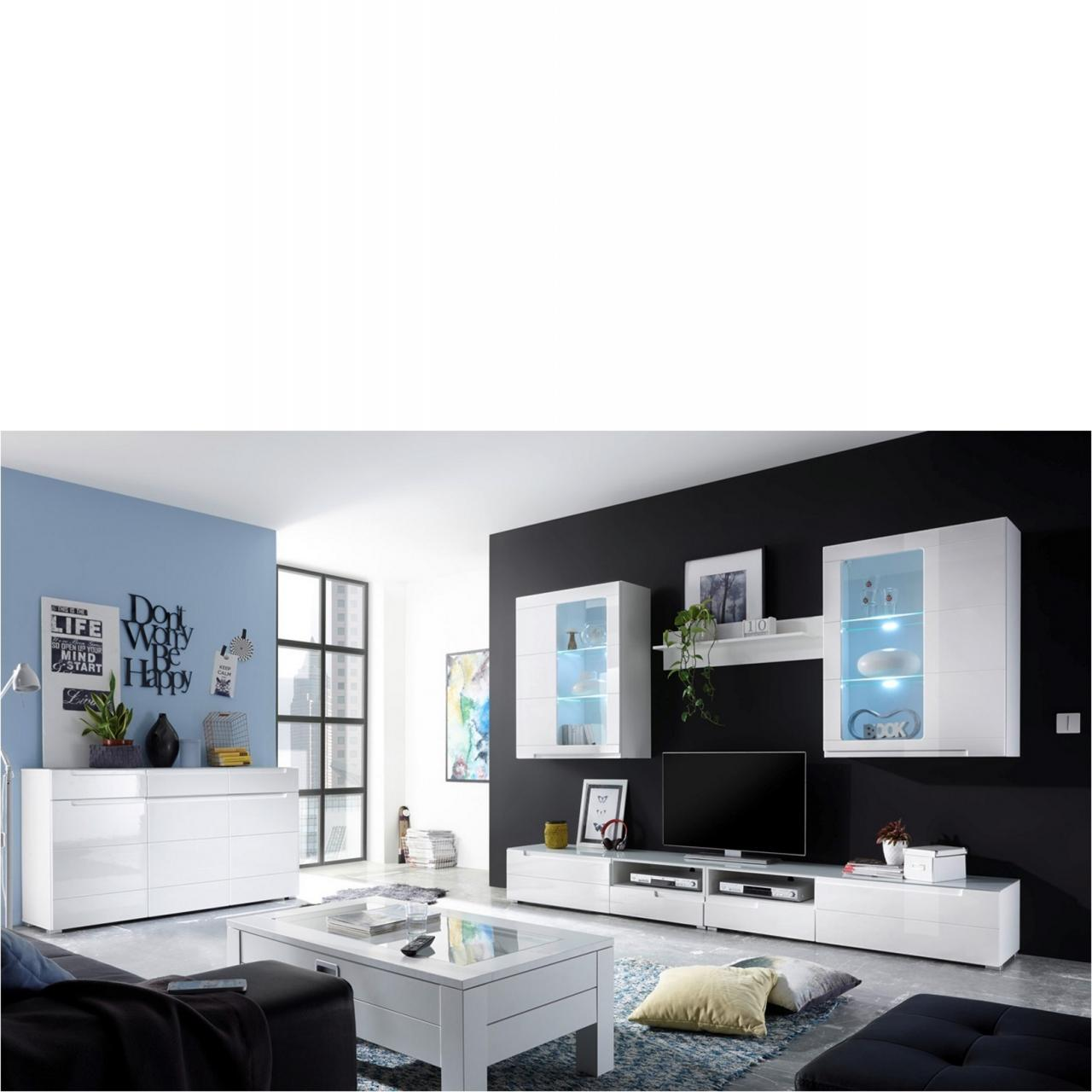 anbauwand tiger in hochglanz wei komplettprogramme wohnzimmerm bel wohnen m bel. Black Bedroom Furniture Sets. Home Design Ideas