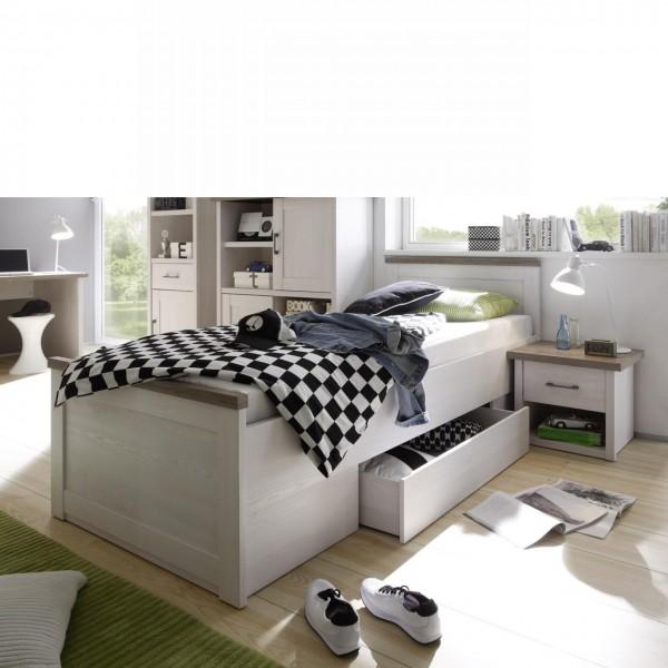 Bett Luca Bettgestell 1 Schubkasten Einzelbett Pinie Weiß 90x200 cm