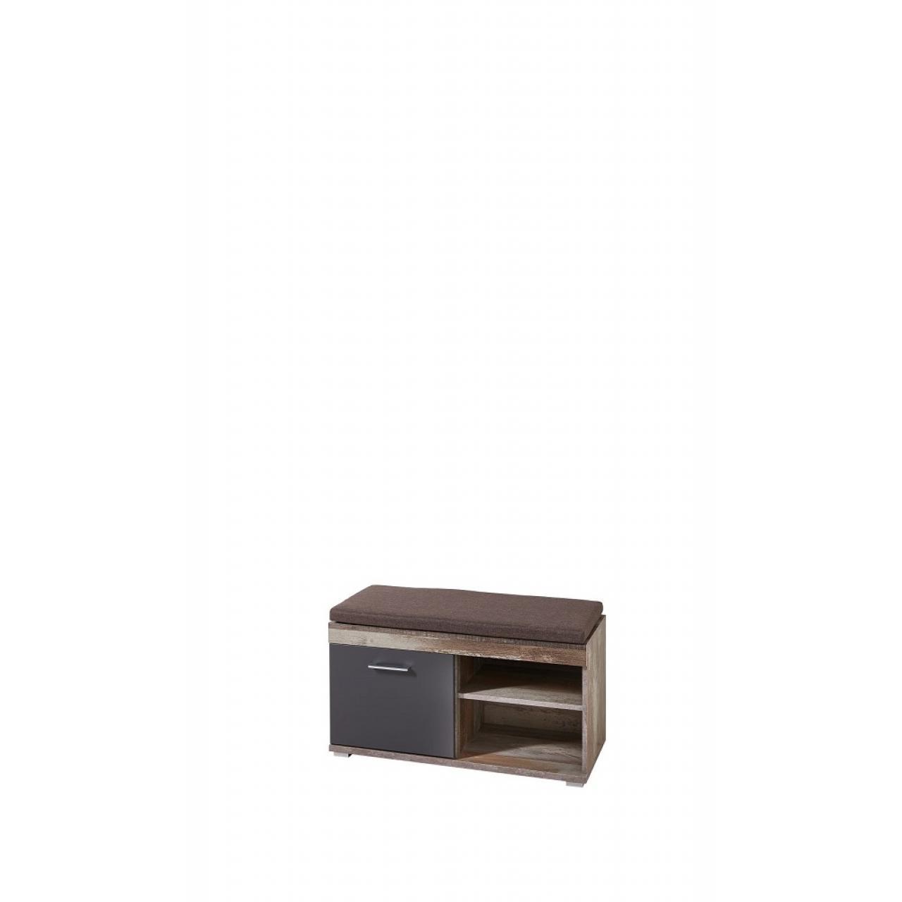 Bank Crown-X 1 Tür 2 Offene Fächer inkl. Sitzkissen Garderobenbank Flur Diele