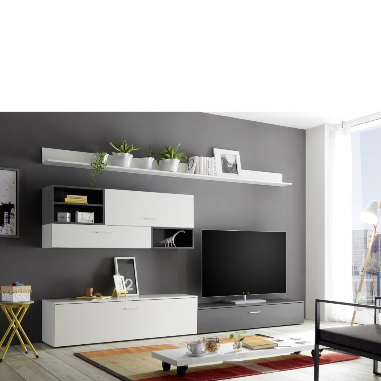 Wohnwand New Vision - Weiß/grau