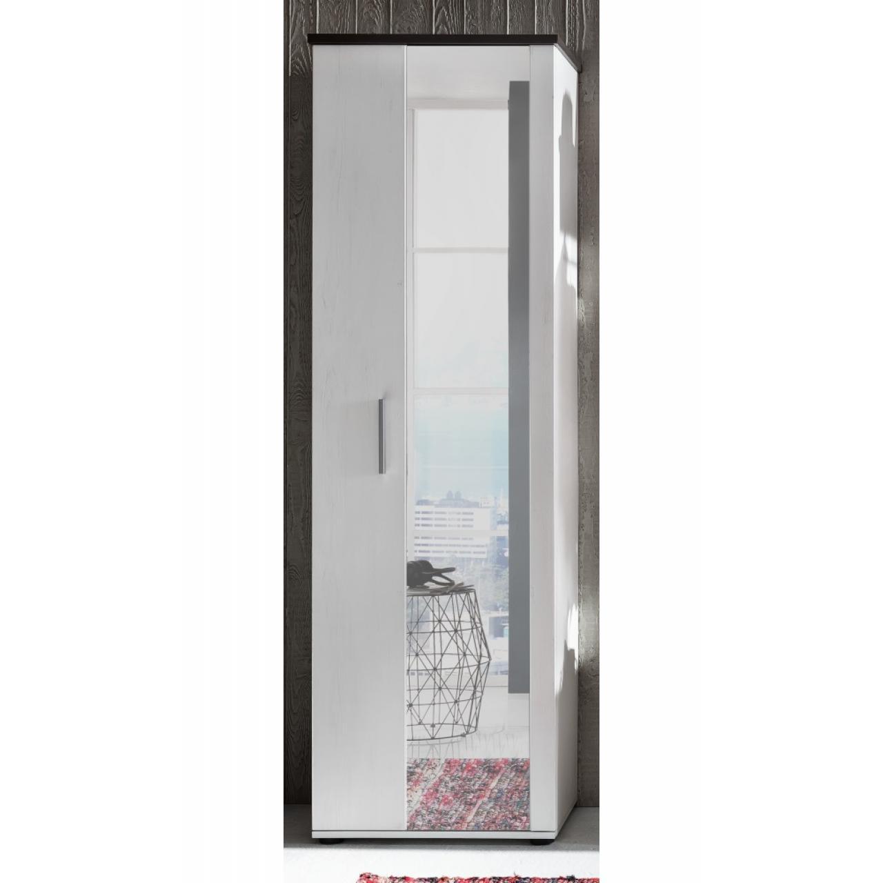 Garderobenschrank Dakota - Pinie Weiß mit Absetzungen in dunkelbraun