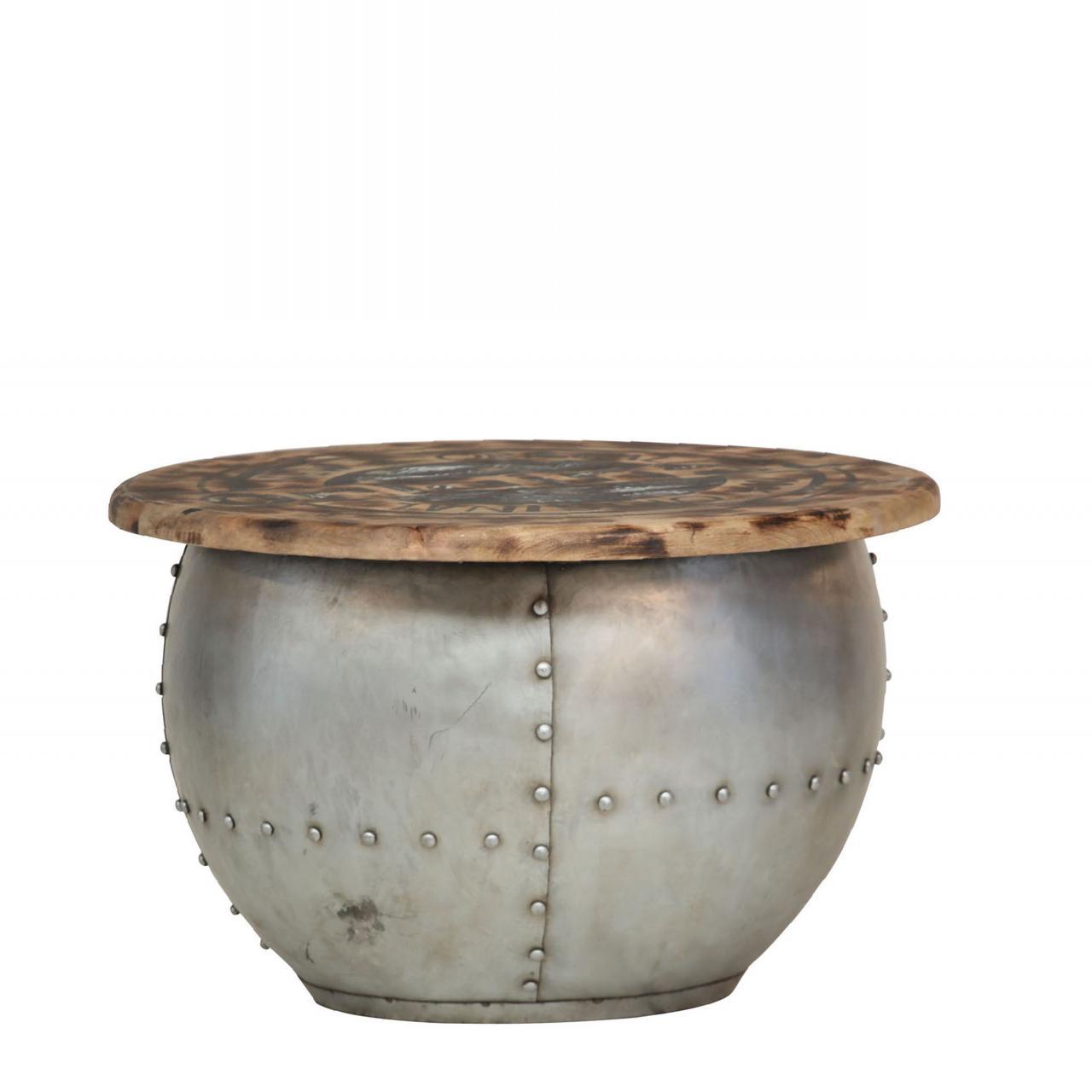 Couchtisch Cheesy Metall Silber Anthrazit Lackiert Stubentisch Mangoholz