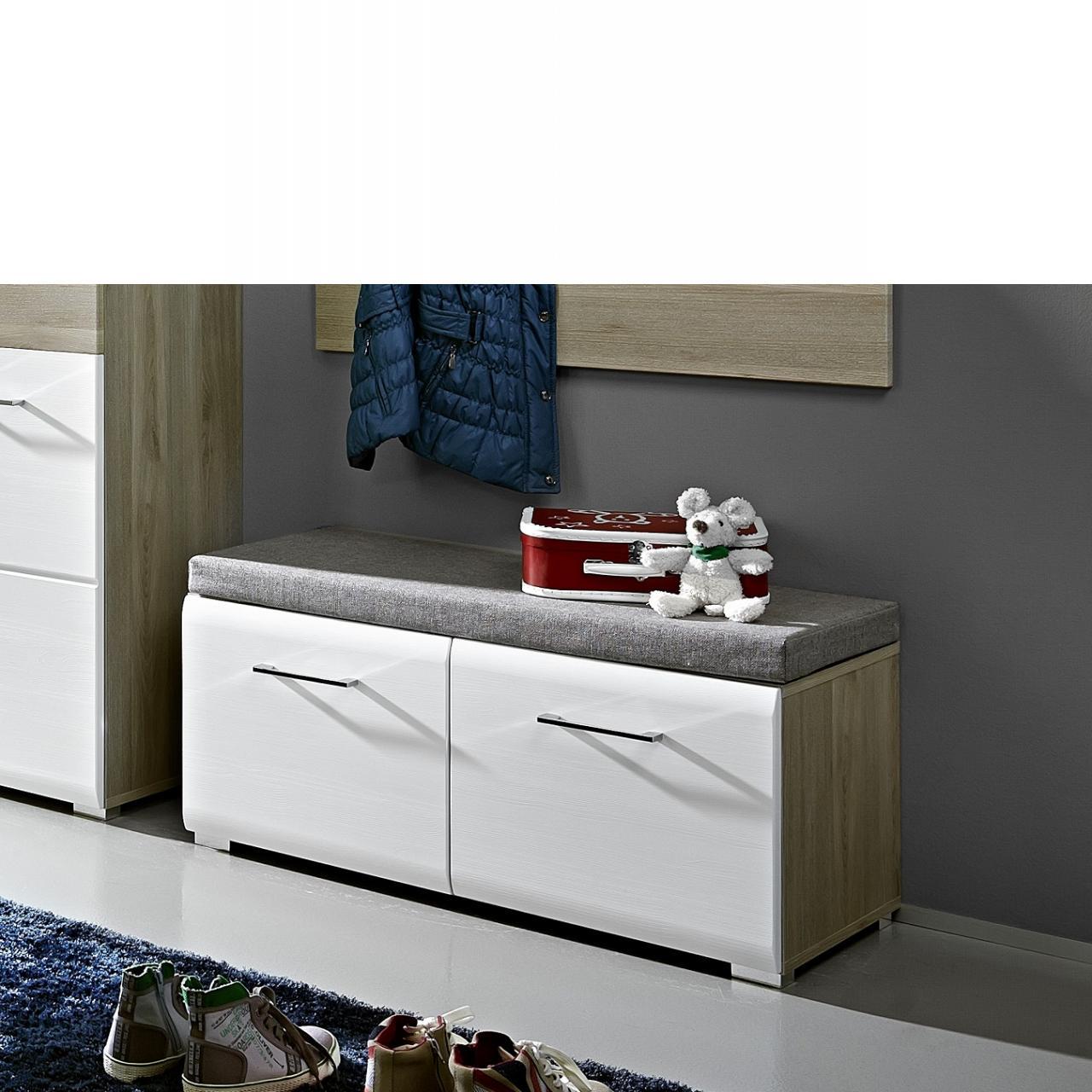 Bank Funny 2 Türen inkl. Sitzkissen Weiß Silbereiche Nb. Flur Diele Garderobe