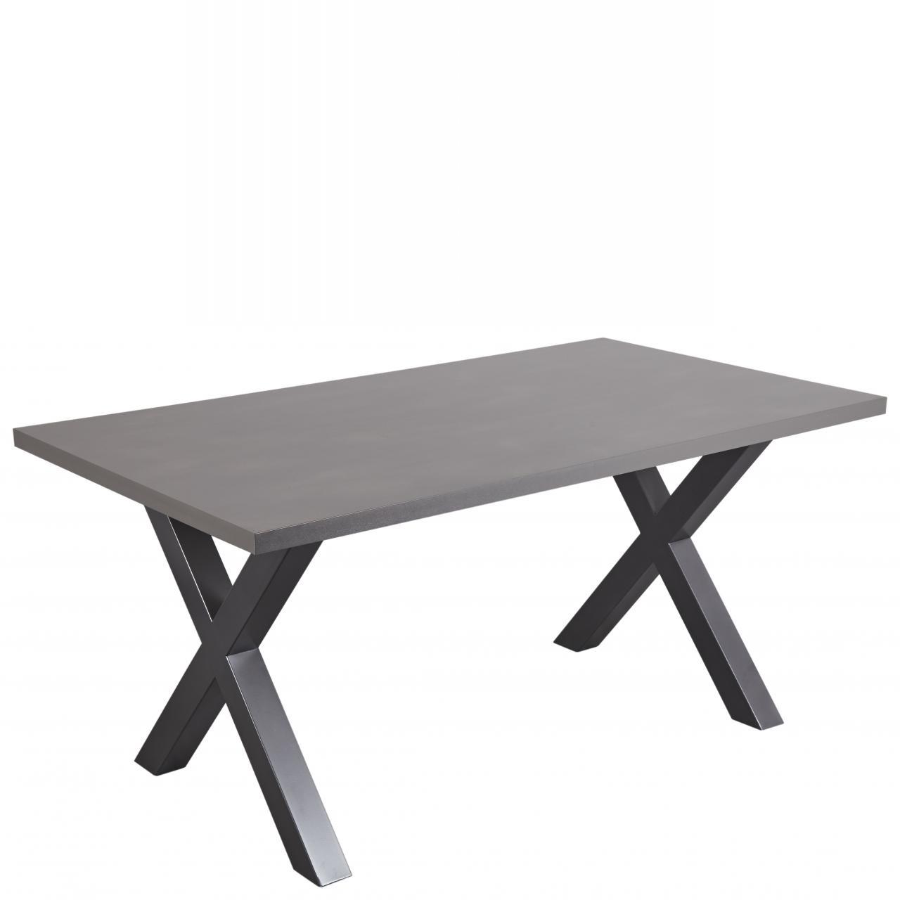 Tisch Metal 2 Raw Steel Graphit X-Gestell Küchentisch Esszimmertisch Esstisch