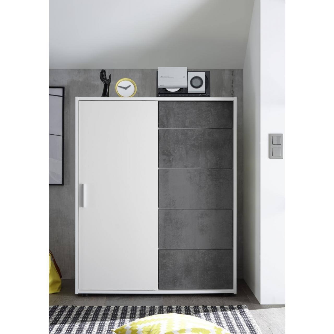 Case Kommode 5 in weiß/betonoxid