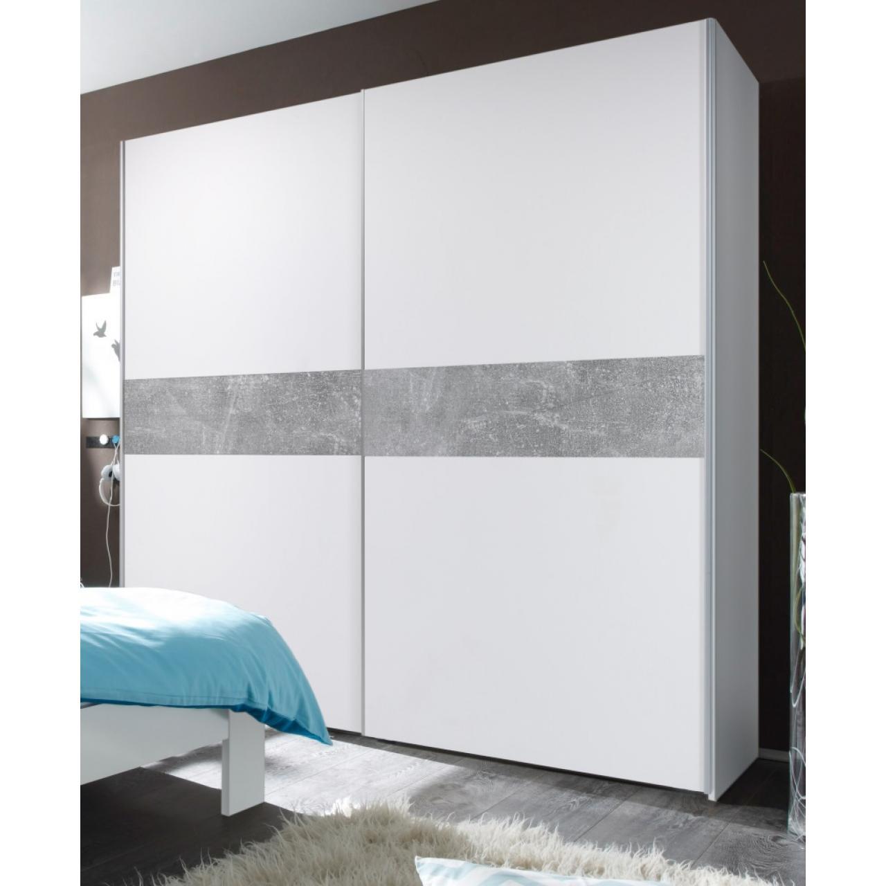 Kleiderschrank - Victor 2 - weiß/beton