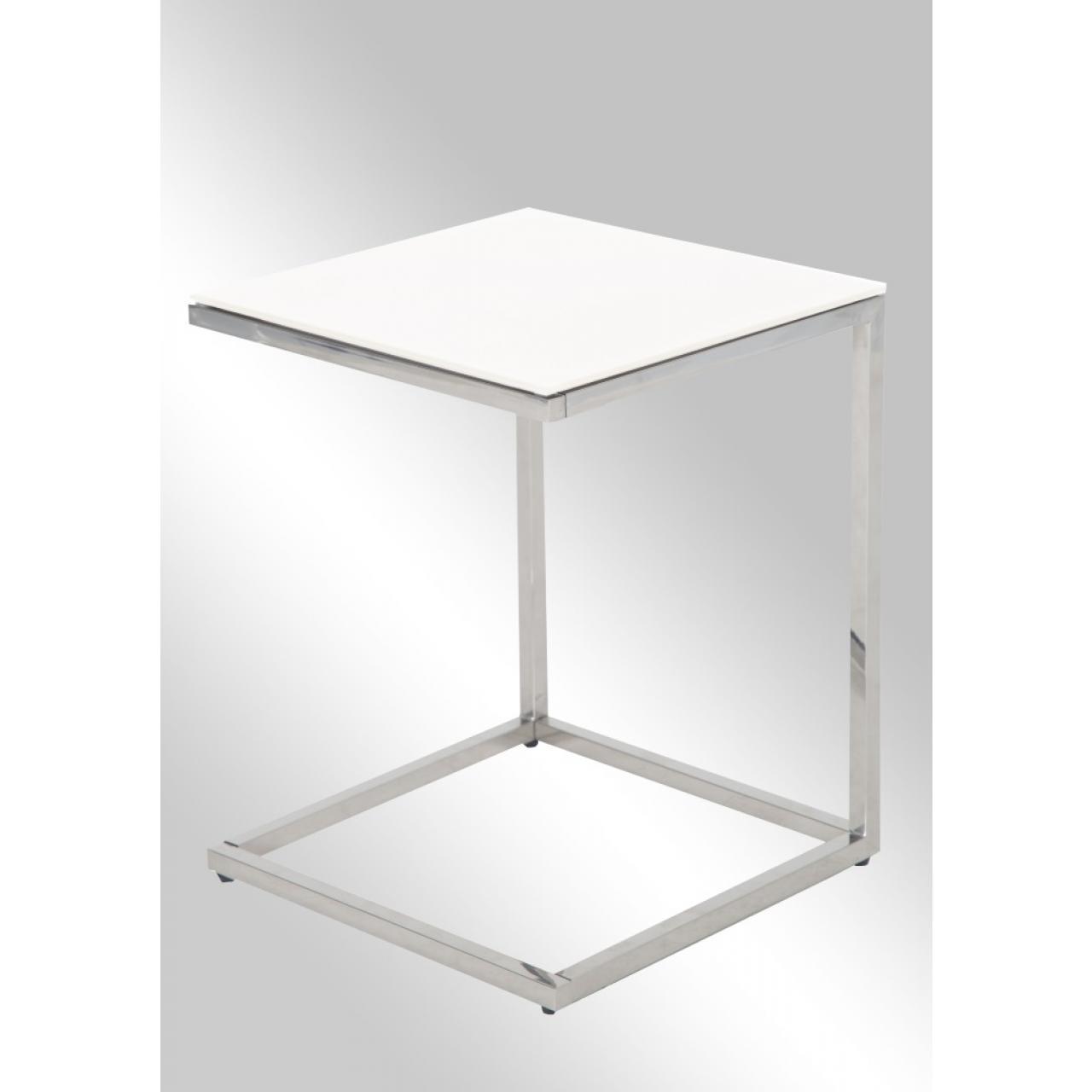 Beistelltisch Chic Ii Metal Edelstahl Silber Glas Weiss