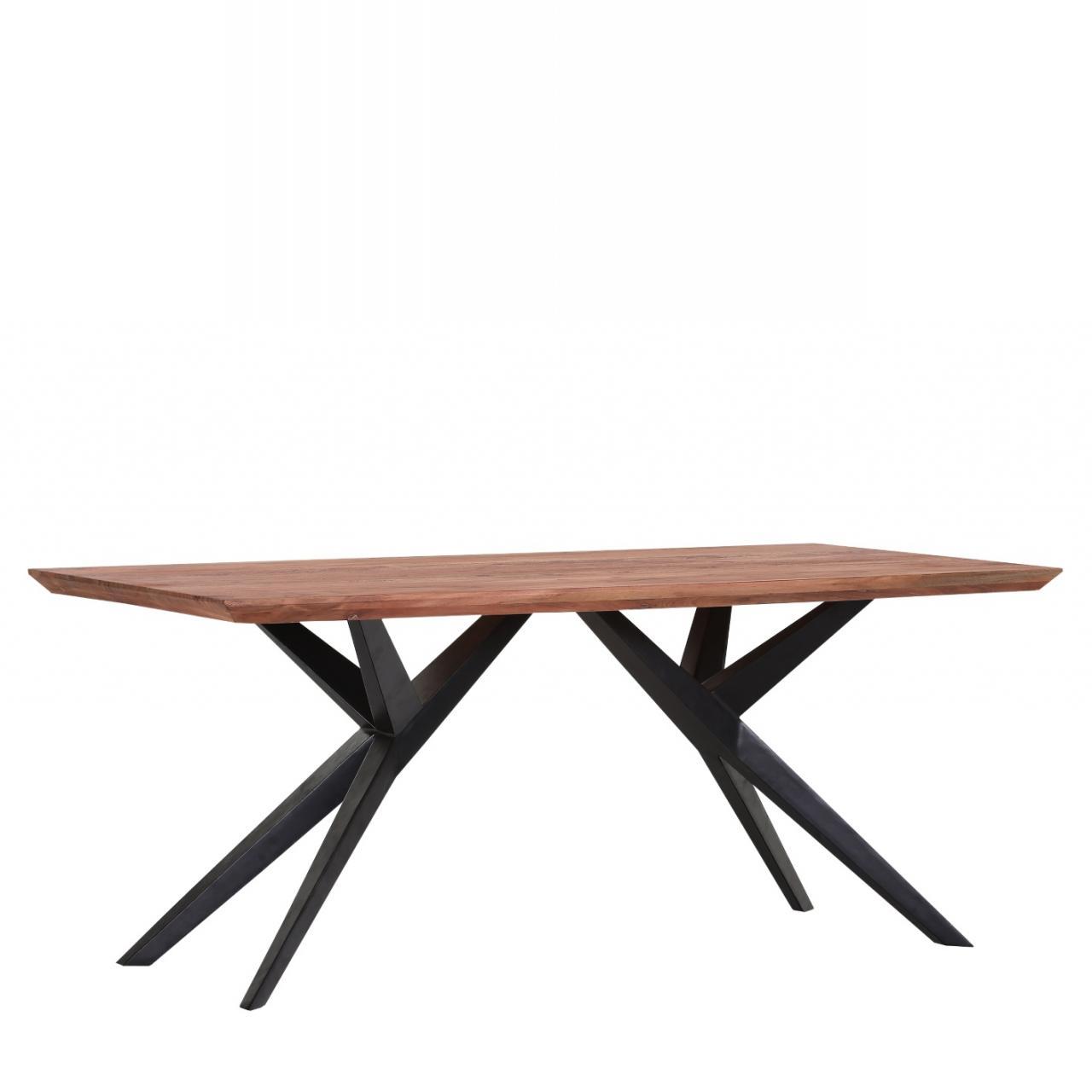 Esstisch Ted Akazie massiv gebeizt lackiert Metall 175x90 cm Küchentisch Tisch