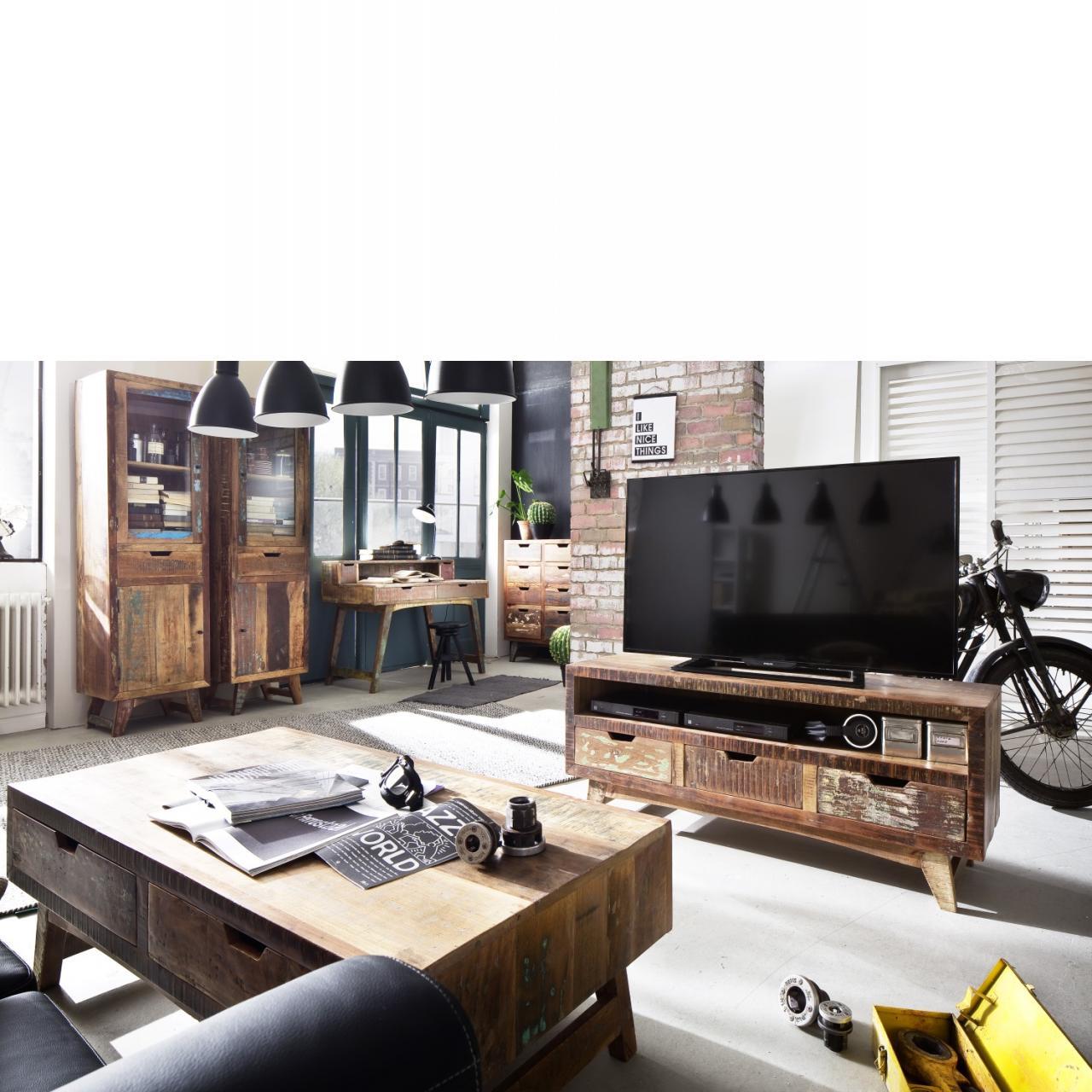 TV Element Malmö TV-Lowboard Recyceltes Holz Lackoberfläche TV Möbel TV Tisch