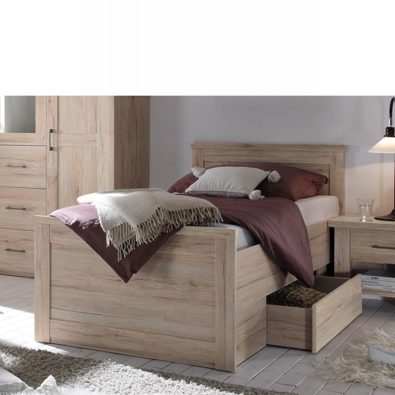 Komfortbett Luca Eiche San Remo inkl. Bettschubkasten 100x200 Schlafzimmer