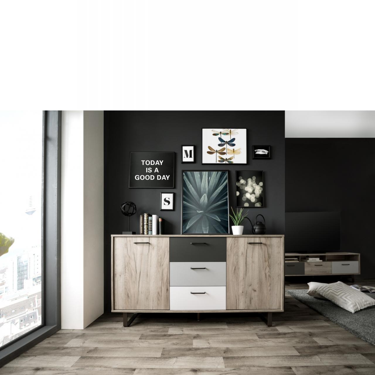 Sideboard Orlando Grey Craft Oak Grau Weiß Anthrazit Metall MDF 2 Türen 2 Böden