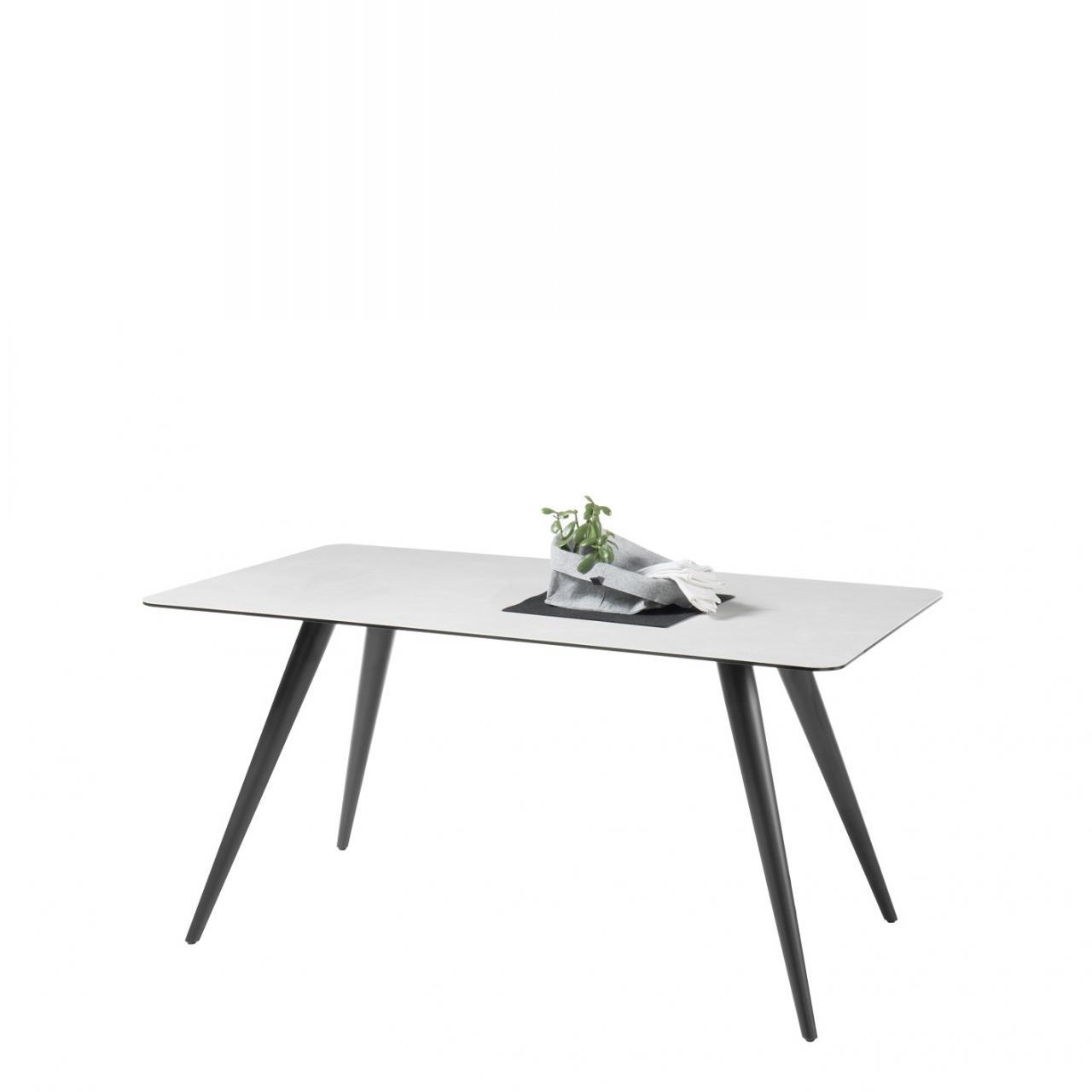 Esstisch Logan Metall Schwarz Lackiert Glasplatte Keramikoberfläche Tisch 160x76x90 cm