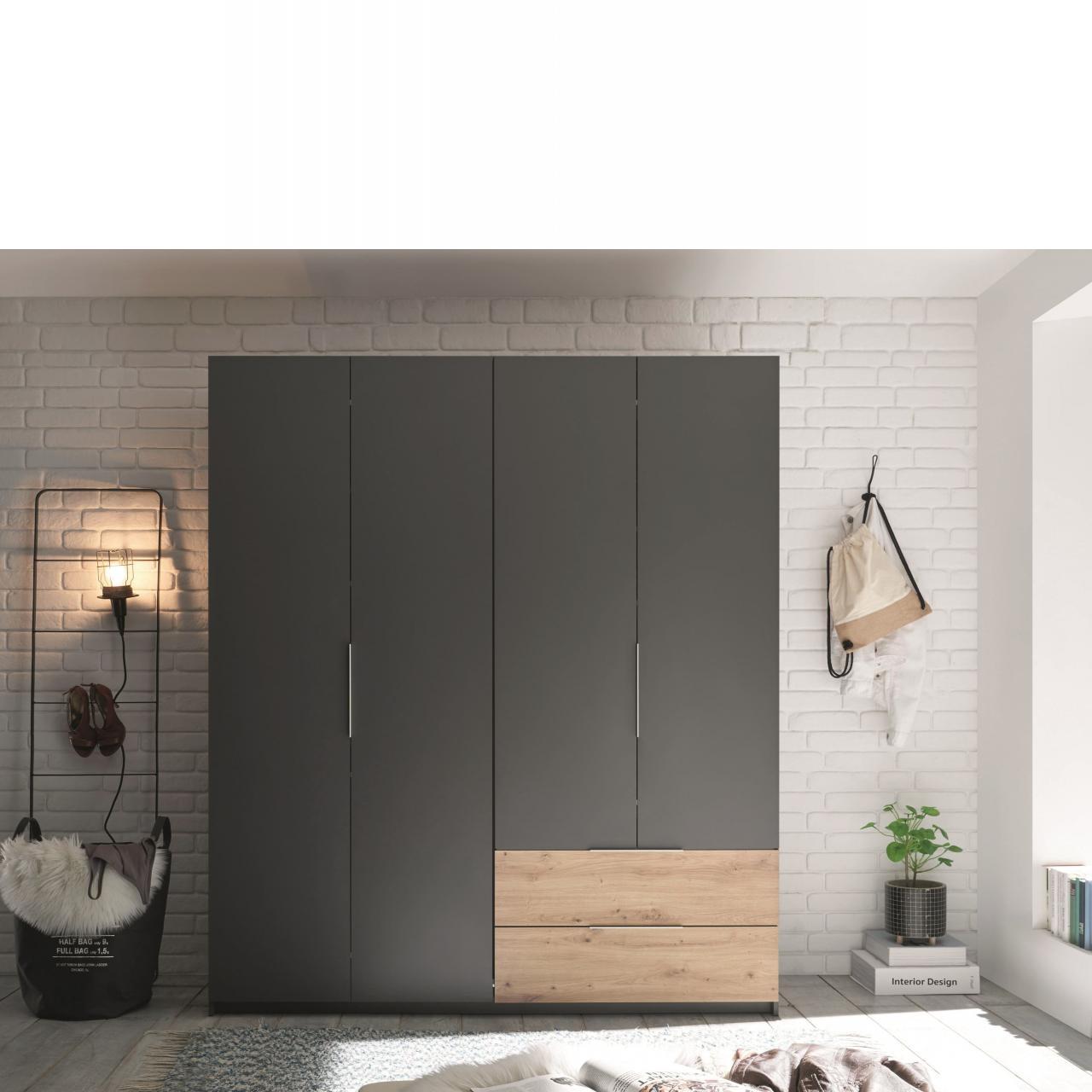 Drehtürenschrank Fold Graphit Artisan Eiche 4 Türen 2 Schubkästen Kleiderschrank Kleiderstange