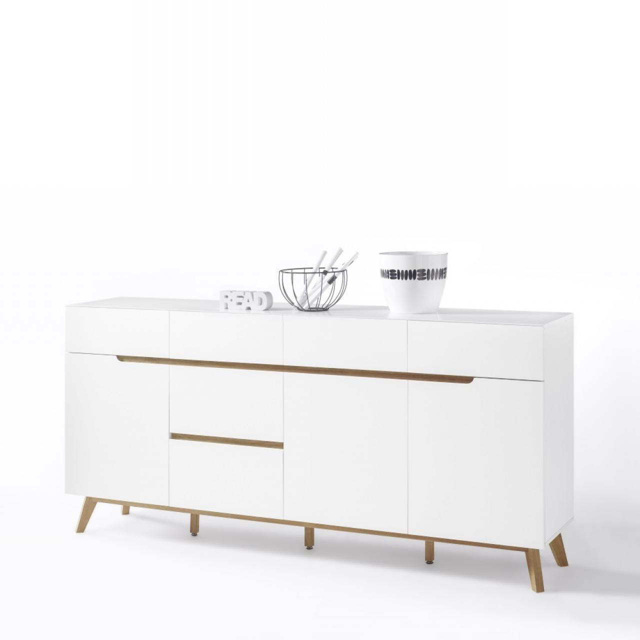 sideboard almeria beton wei 3 schubk sten 2 t ren m bel j hnichen center gmbh. Black Bedroom Furniture Sets. Home Design Ideas