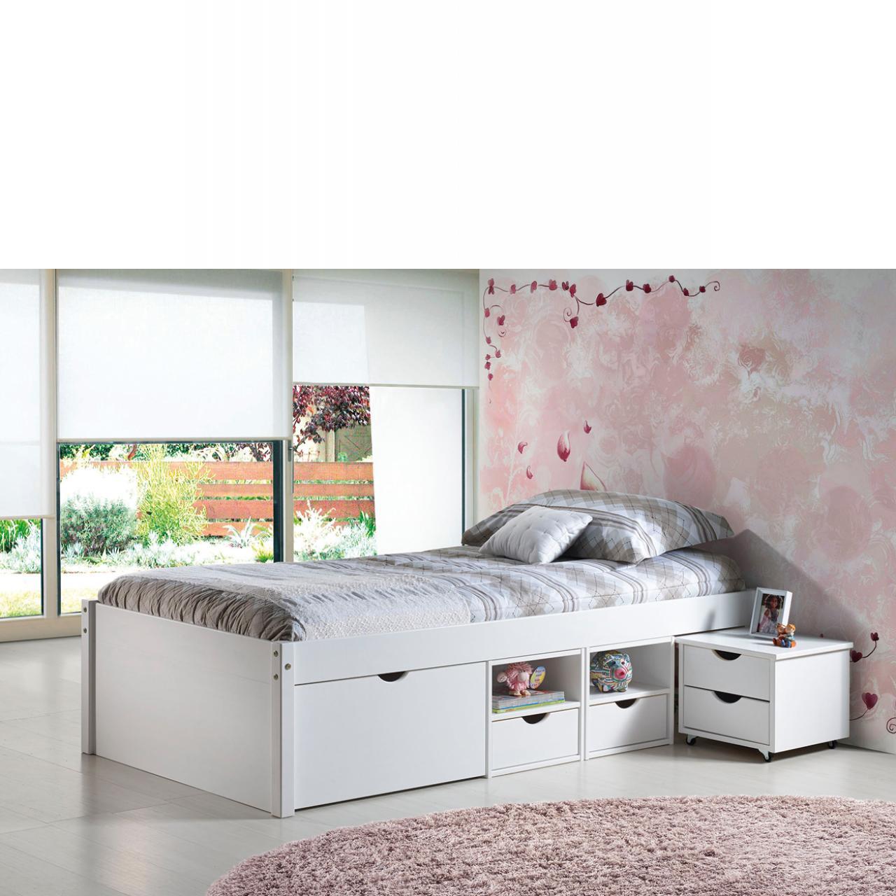 Bett Till Single weiß 90x200 cm Kinderbett mit Nachtkonsole