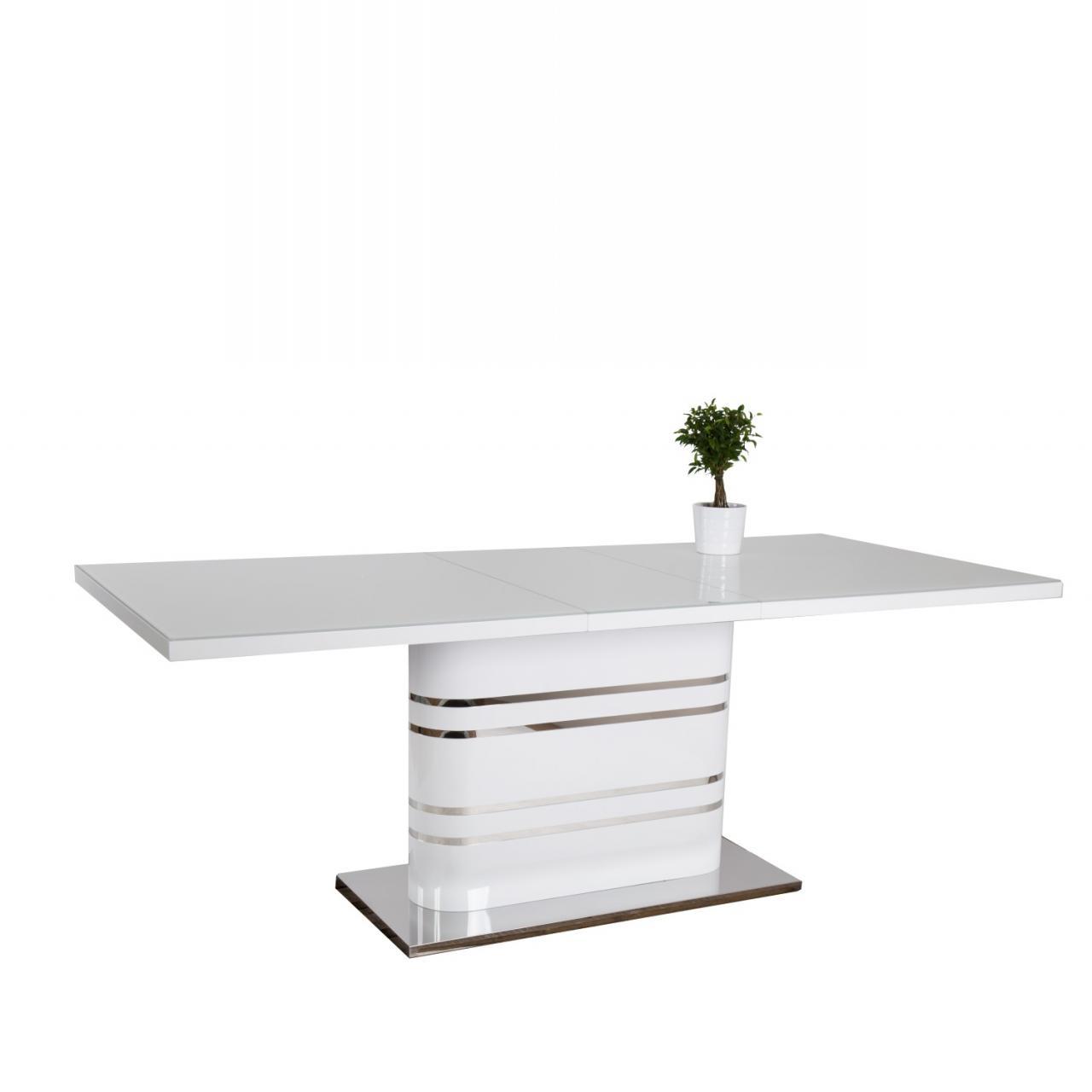 Esstisch Sydney, Tisch, Küchentisch, Esszimmertisch, ausziehbar auf 200 cm, weiß