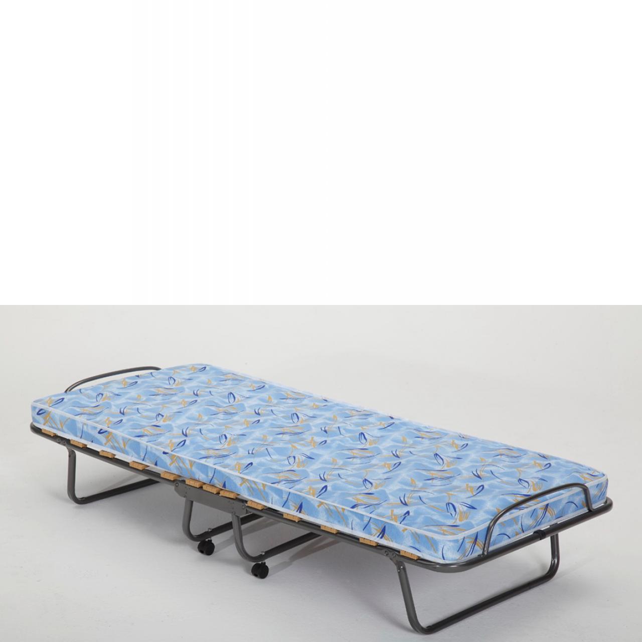 Raumsparbett Odessa Blau 80x190 cm Gästebett Metallbett Reisebett mit Rollen