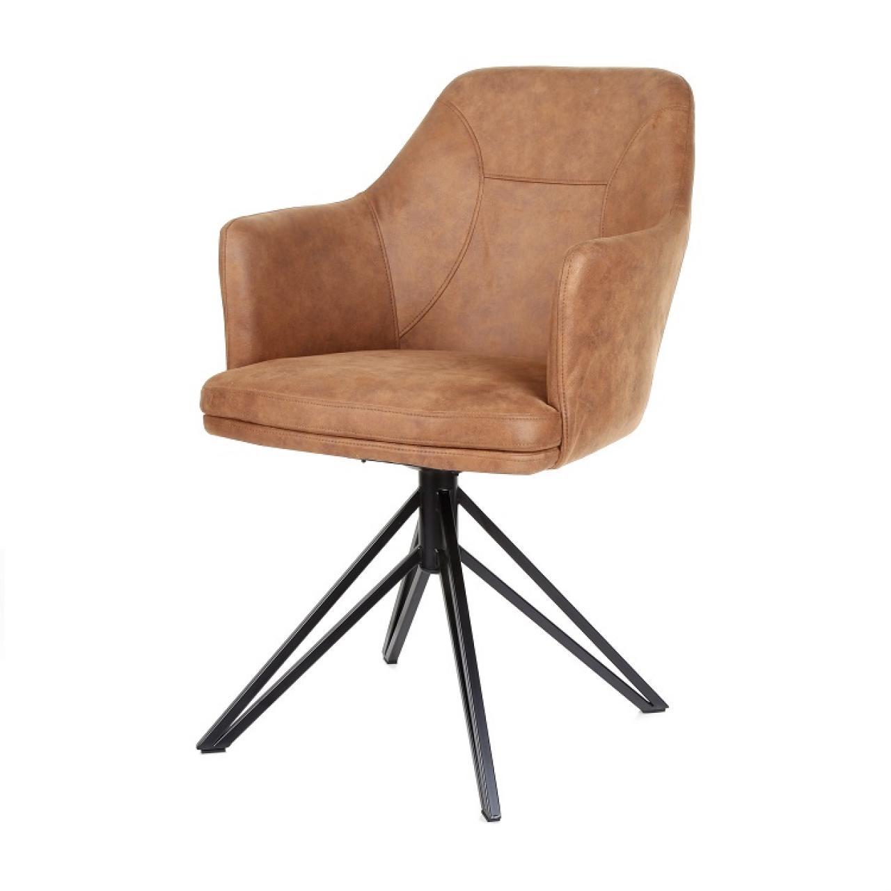 Der Stuhl Calvin mit Armlehnen in Cognac Wohnzimmer Esszimmer