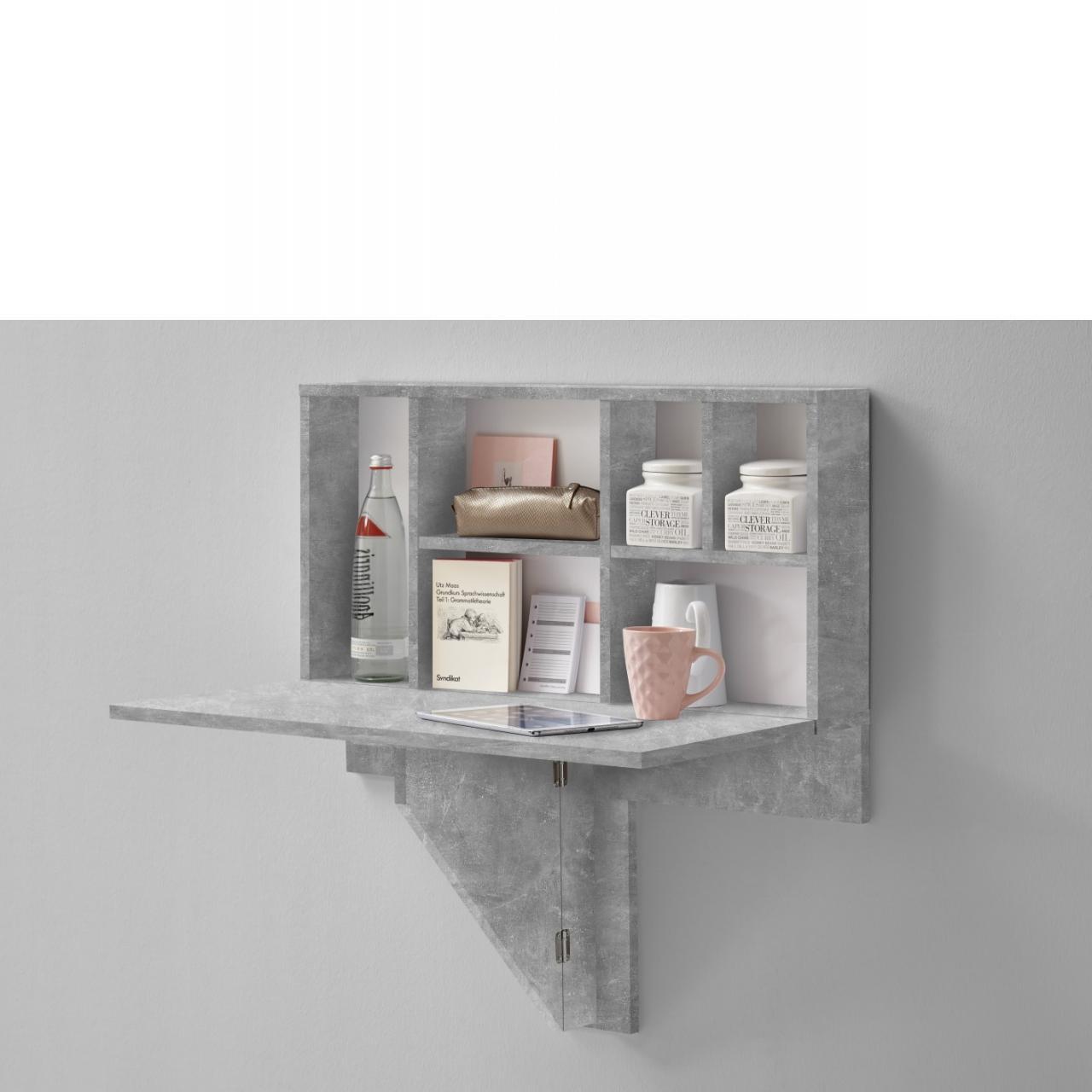 arta 2 klapptisch mit regal beton regale wohnen. Black Bedroom Furniture Sets. Home Design Ideas