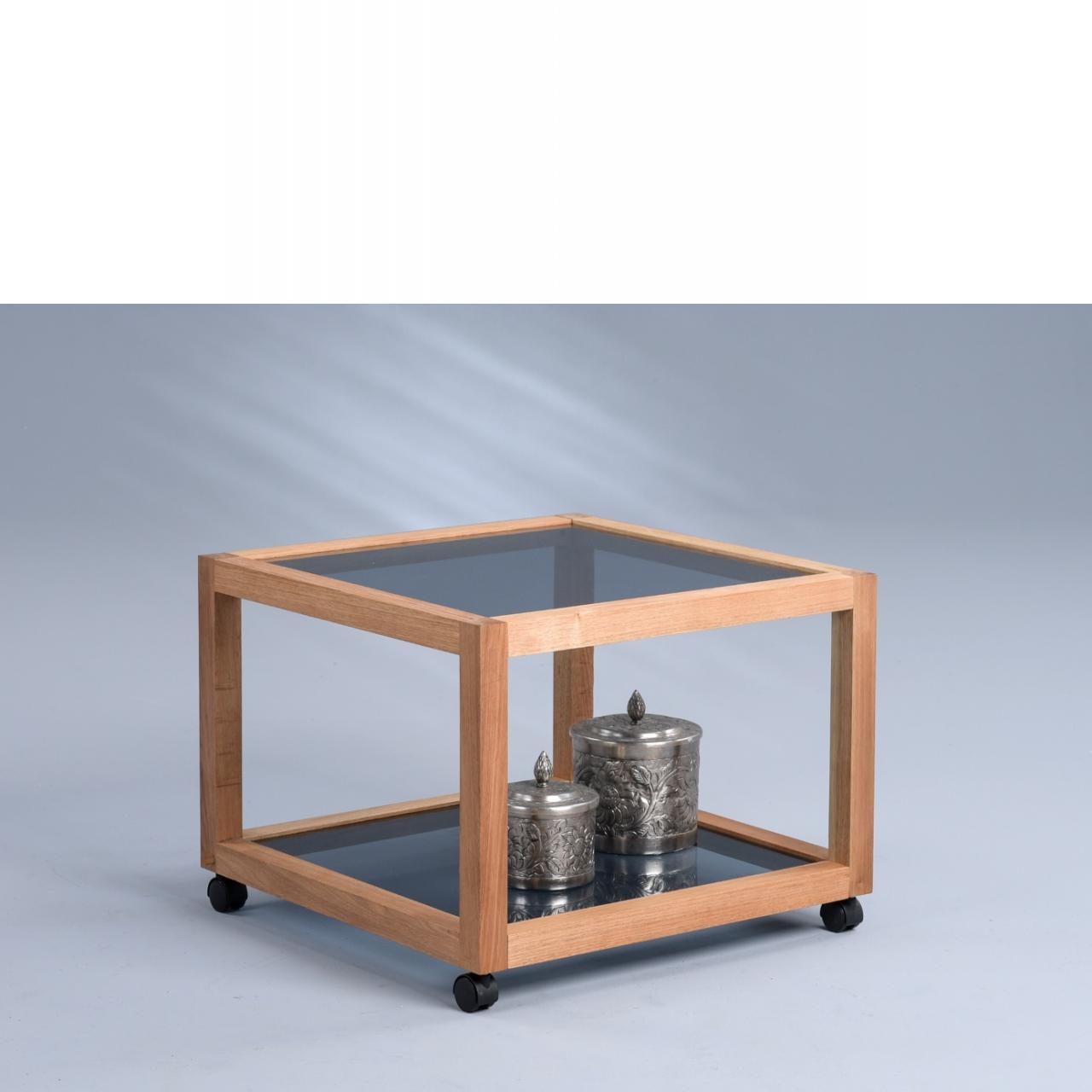 Couchtisch Manila 2 auf Rollen 60x60 cm Glas Massivholz Walnuss