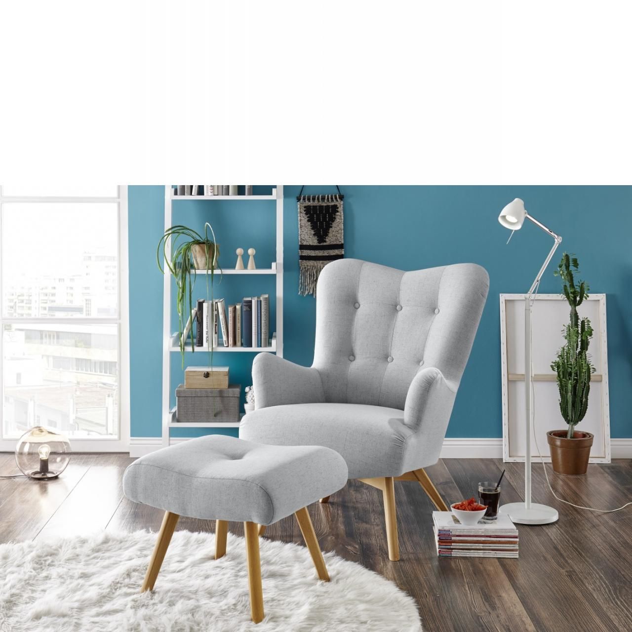Sessel+Hocker Arndt Silver Stoff Massivholz Wotan Polstermöbel Stuhl  20 Sitzer