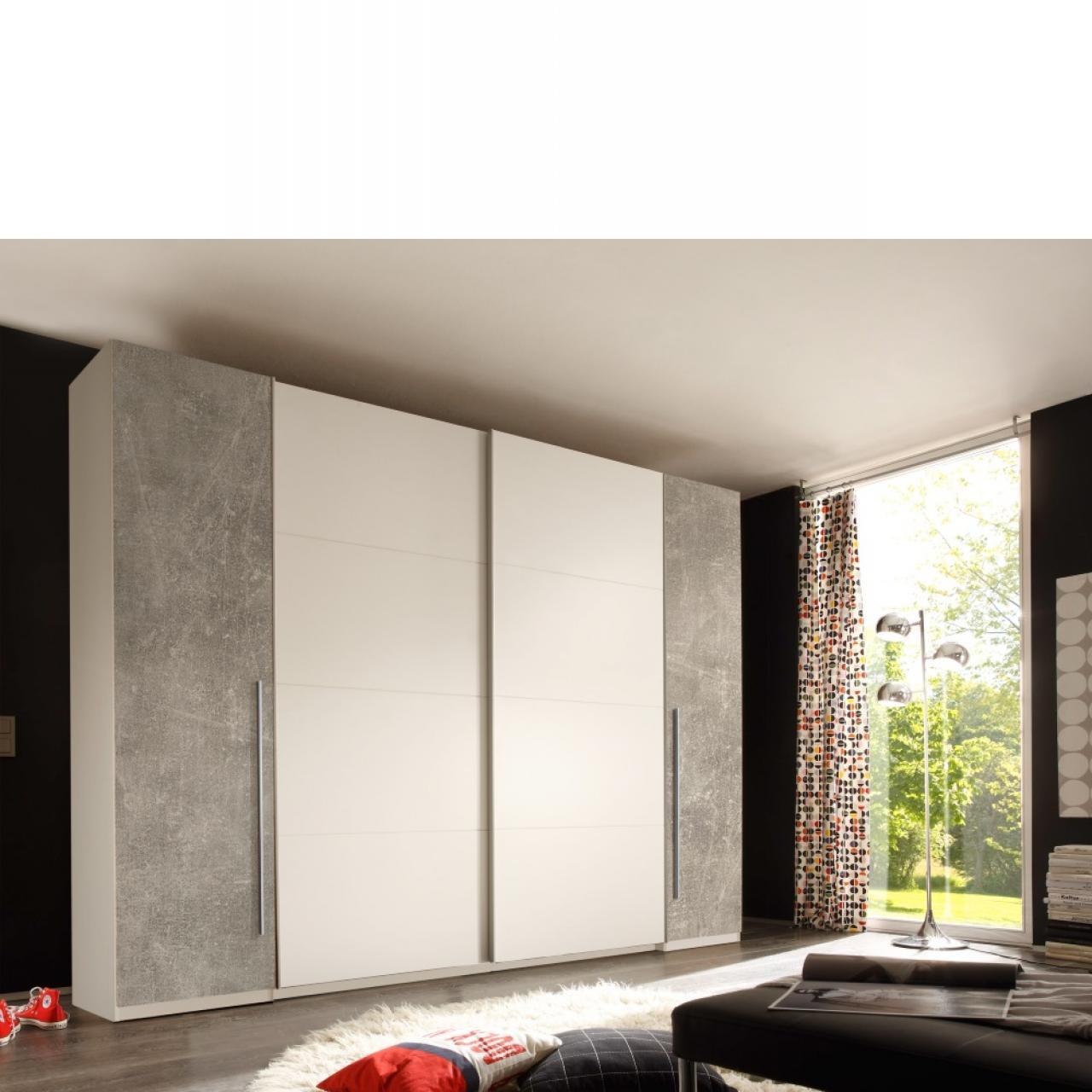 Dreh- und Schwebetürenschrank - Match 2 - weiß/beton