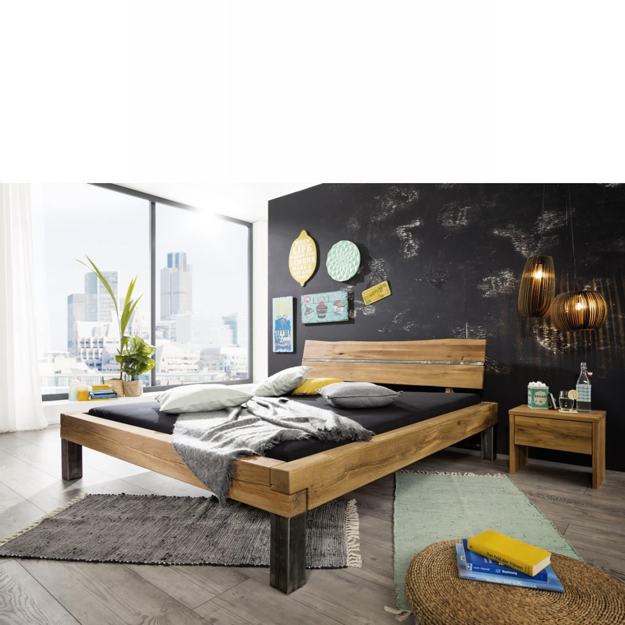 Bett BE-0246 Wildeiche massiv geölt Schlafzimmer Mit Kopfteil Echte Baumkante