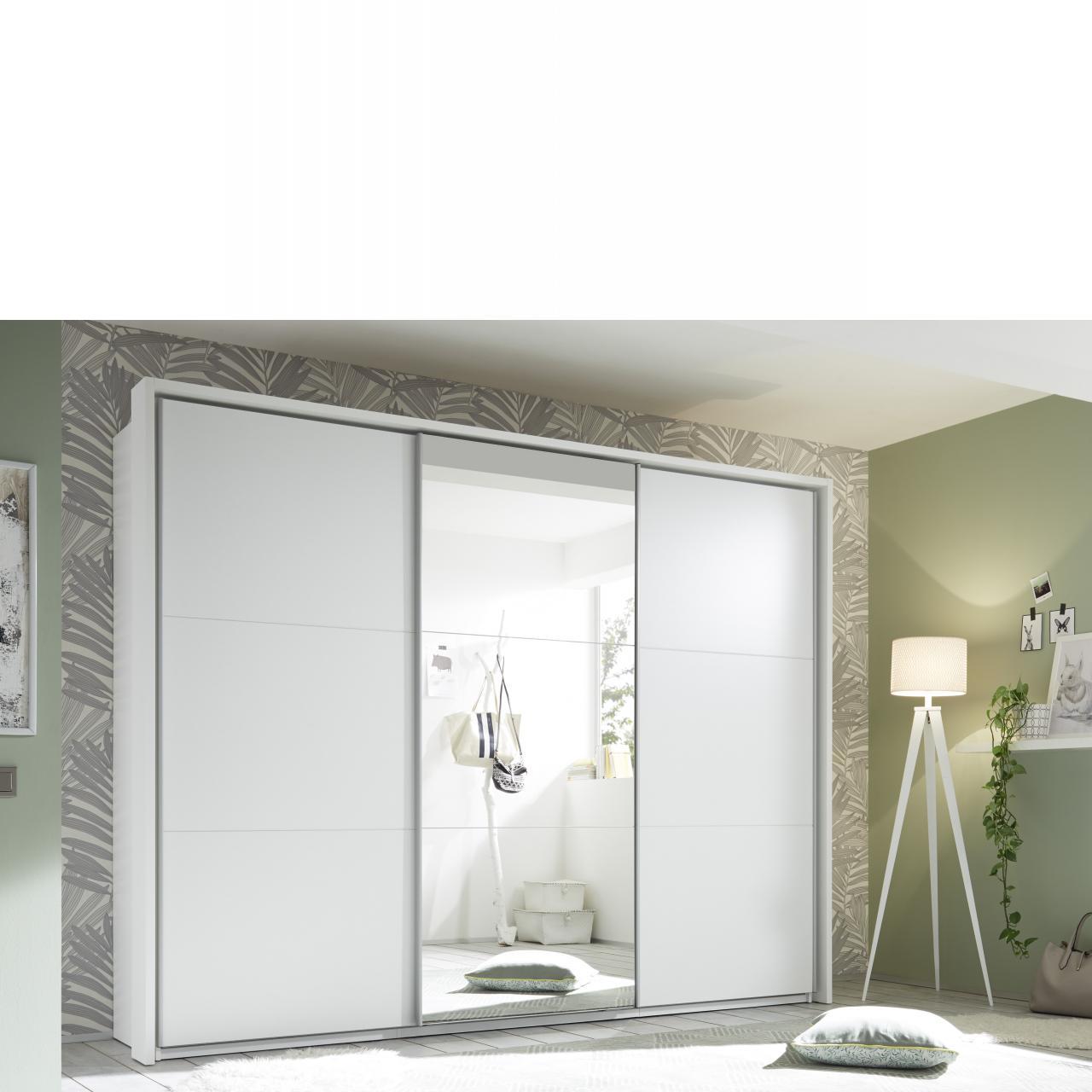 Schwebetürenschrank Bravo 270x210x60 cm, weiß, Spiegel, Schlafzimmer, Stauraum