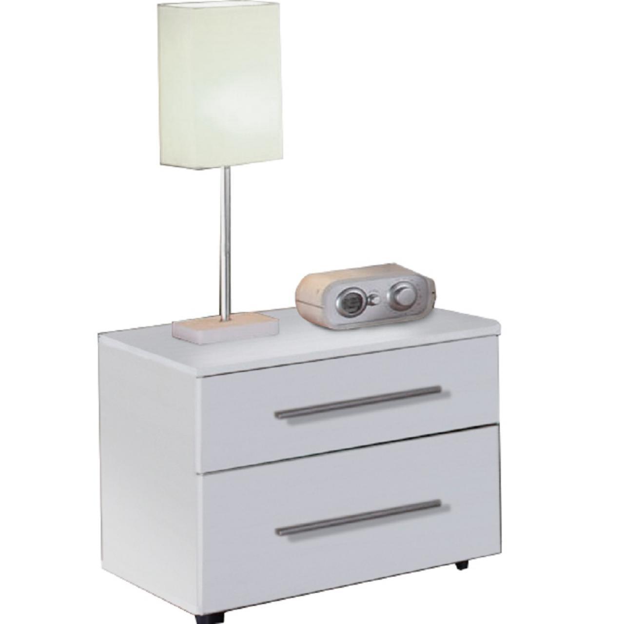 Nachtkommode Martina Weiß 2 Schubkästen Nachttisch Schlafzimmer