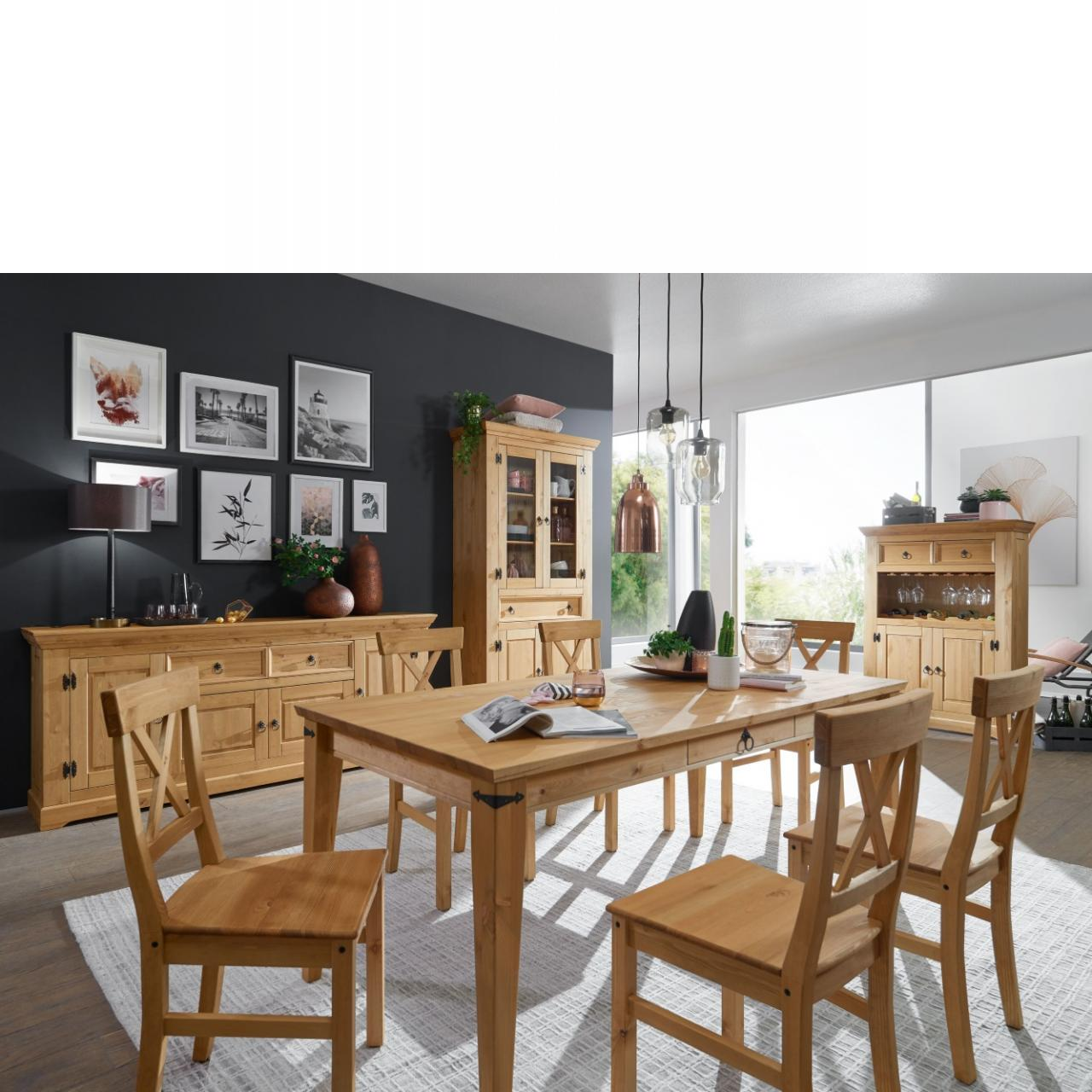Esstisch WZ-0204 Kiefer Massiv Eichefarbig 180x90 Küchentisch Tisch Küche