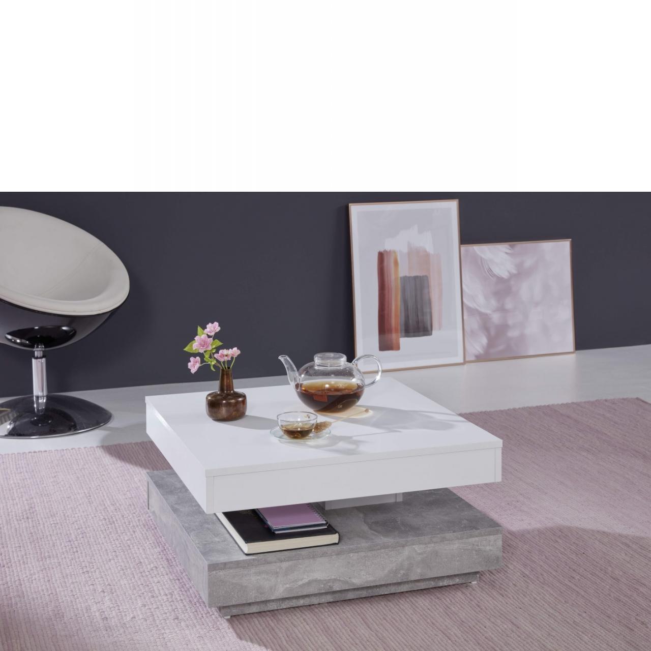 Couchtisch 1100.119.35 Beton Weiß Stubentisch Wohnzimmertisch Beistelltisch