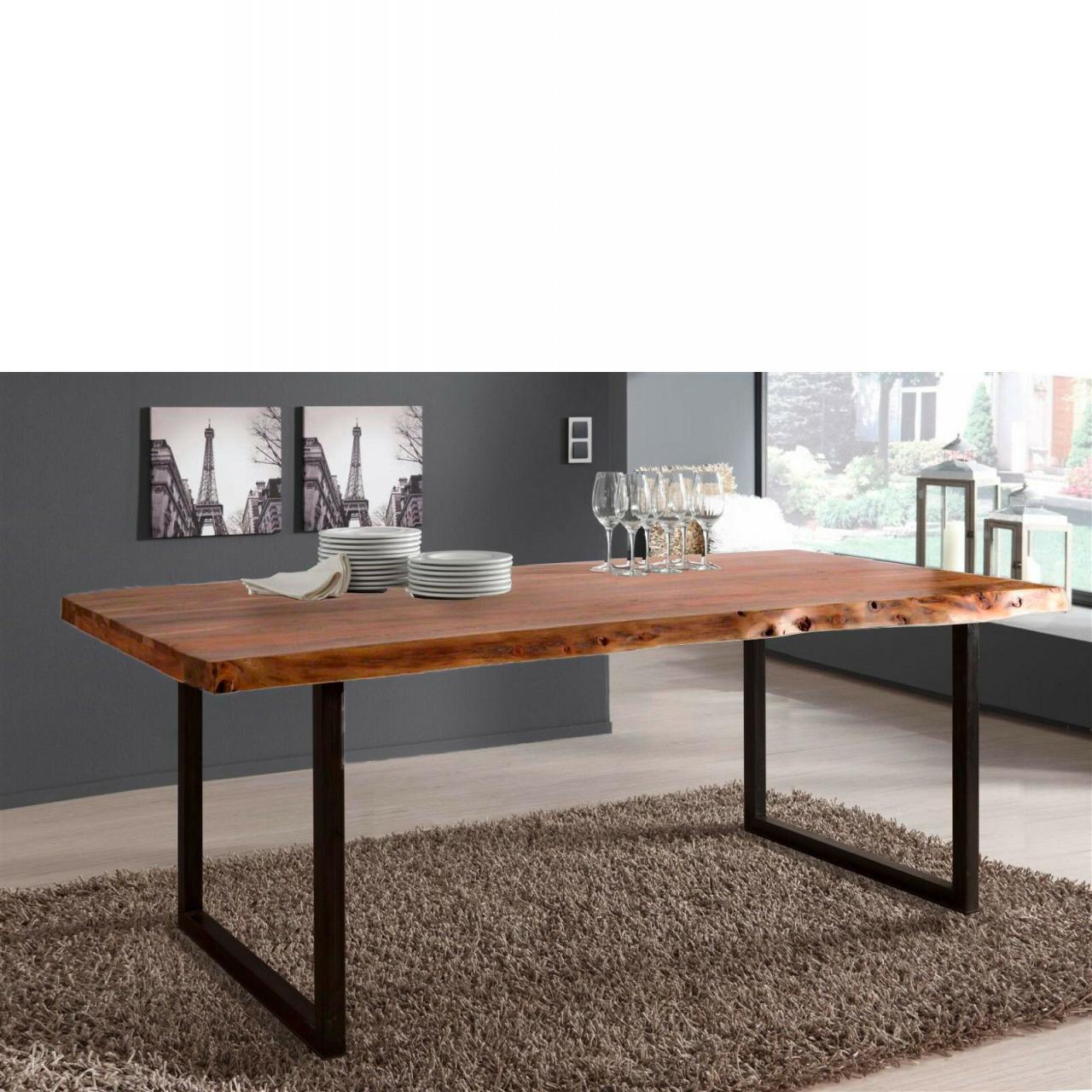 Esstisch Live Edge 160x90 cm Wolf Möbel Küchentisch Holztisch Kufen Gestell
