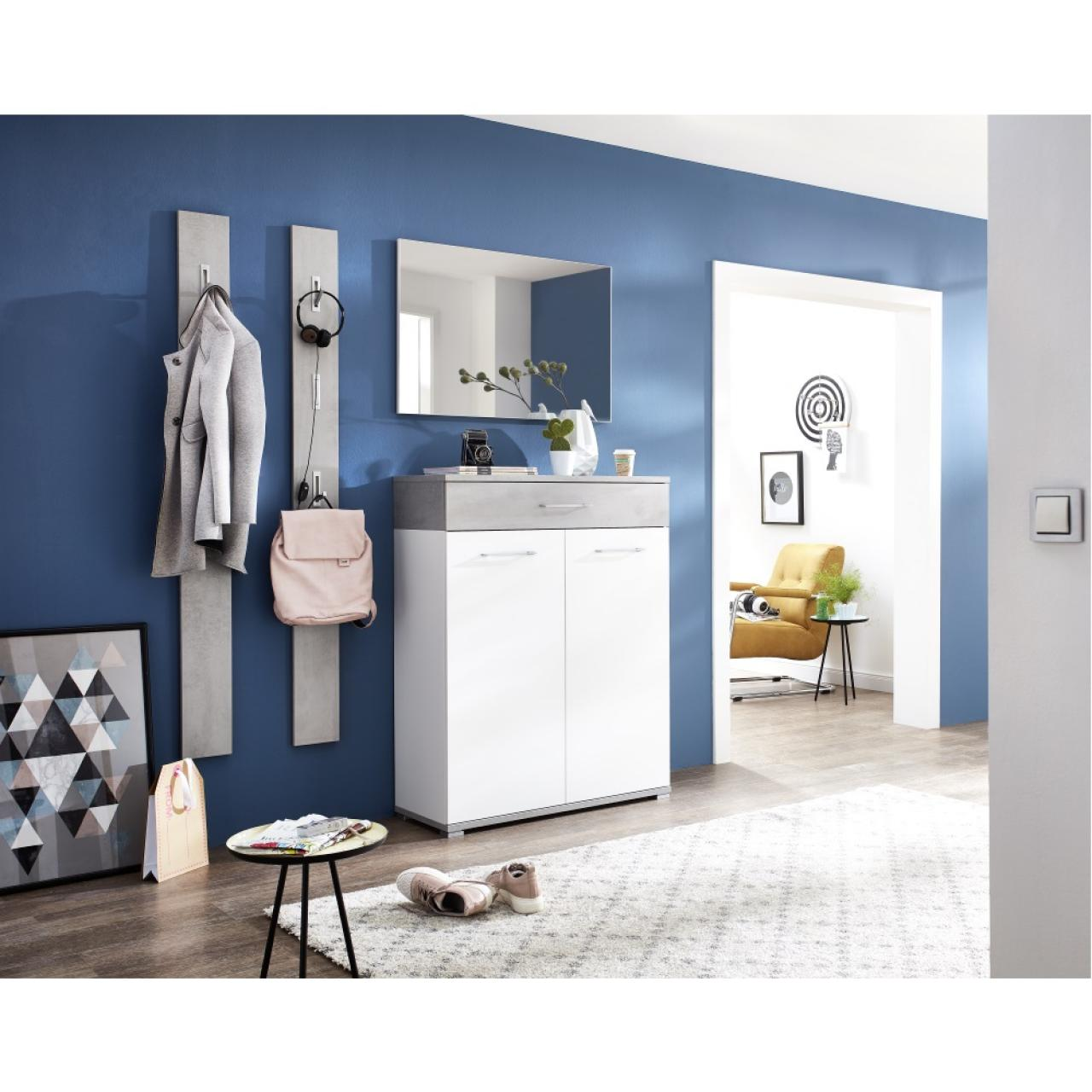 schuhschrank topix | beton - weiß | platz für ca. 20 schuhe | möbel