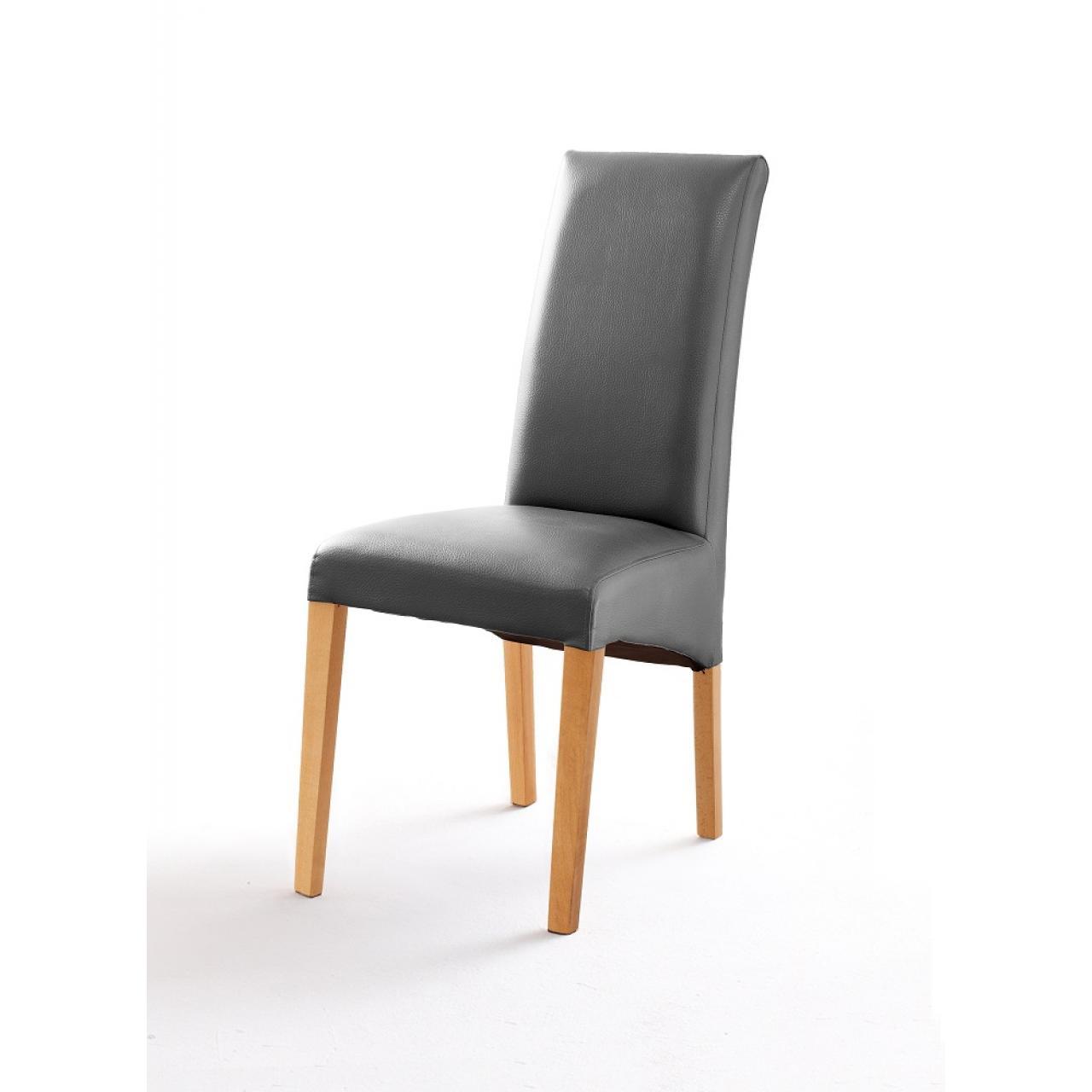 Stuhl Foxi Grau Natur Buche Massiv Stoff Esszimmerstuhl Küche Stuhl
