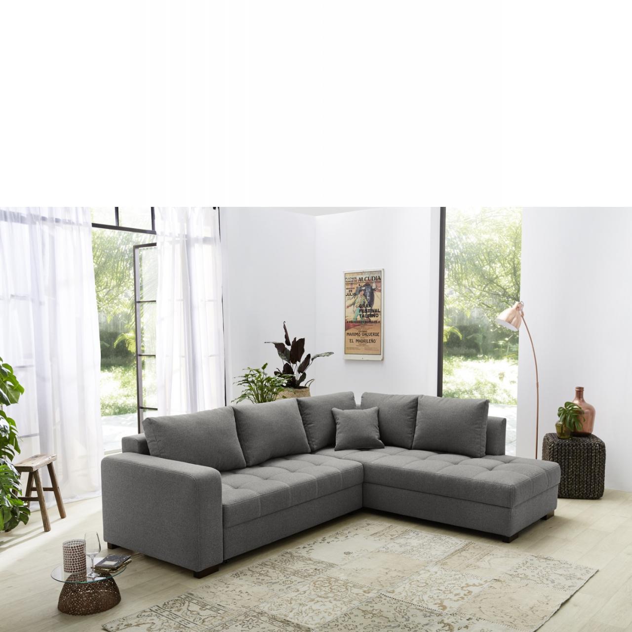 wohnlandschaft aura grau l form mit kopfst tze m bel j hnichen center gmbh. Black Bedroom Furniture Sets. Home Design Ideas