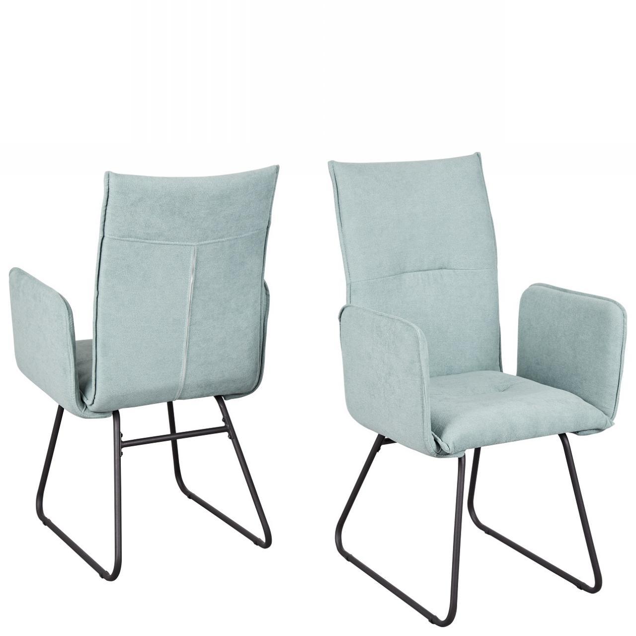 Stuhl Arona 5015-12 Esszimmerstuhl Armlehnstuhl Stoff Metall Küchenstuhl Mint