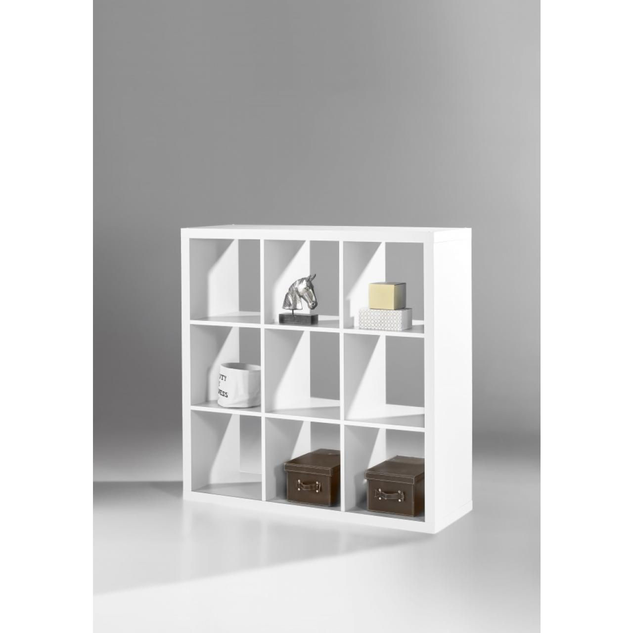 Raumteiler Style 133 Weiß 9 Fächer MDF Standregal Wohnzimmer Aufbewahrung