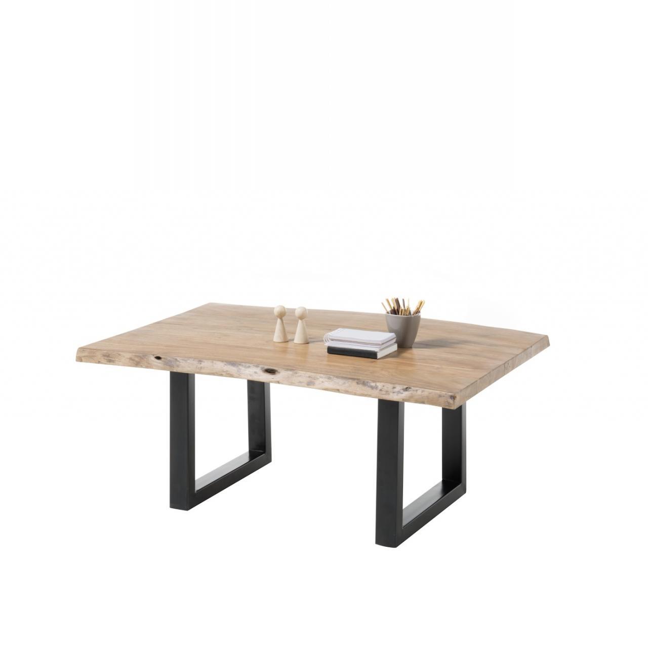 Couchtisch India Akazie Massiv Mit Baumkante Schwar Metall Stubentisch Tisch