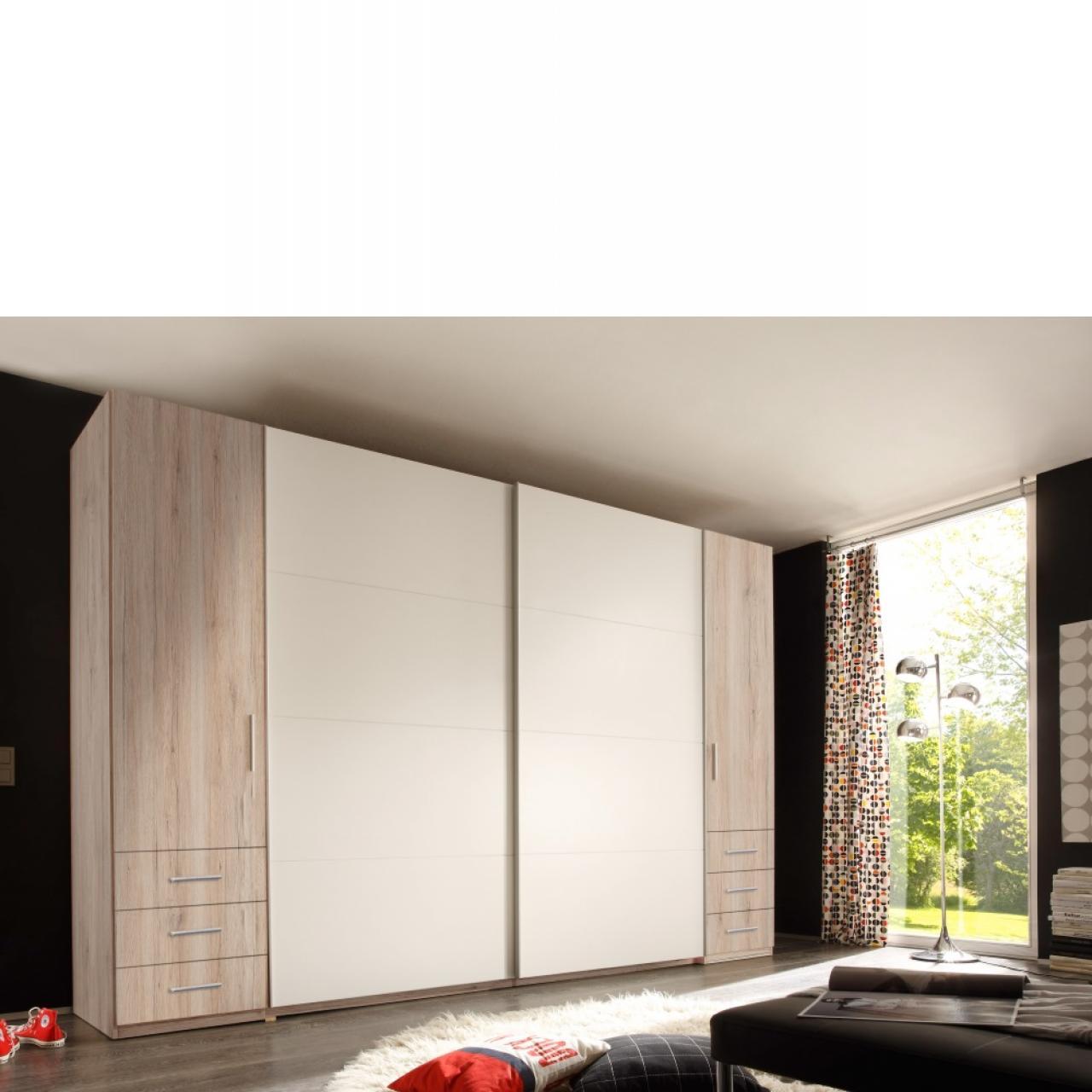 Kleiderschrank Store, Breite: 312 cm, Dreh- & Schwebetüren, Eiche San Remo, weiß